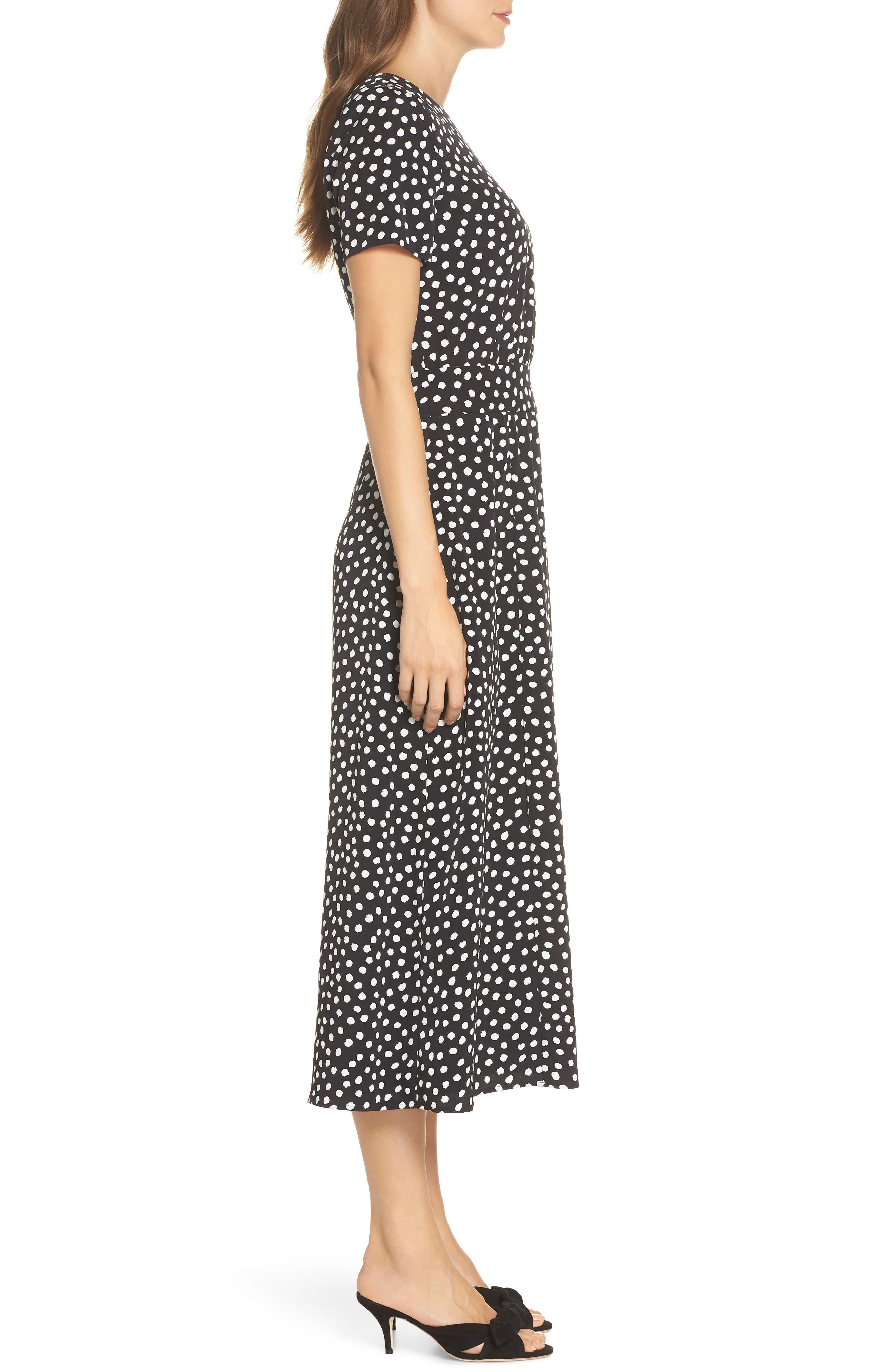 Print Midi Dress,                             Alternate thumbnail 3, color,                             Black/ Soft White