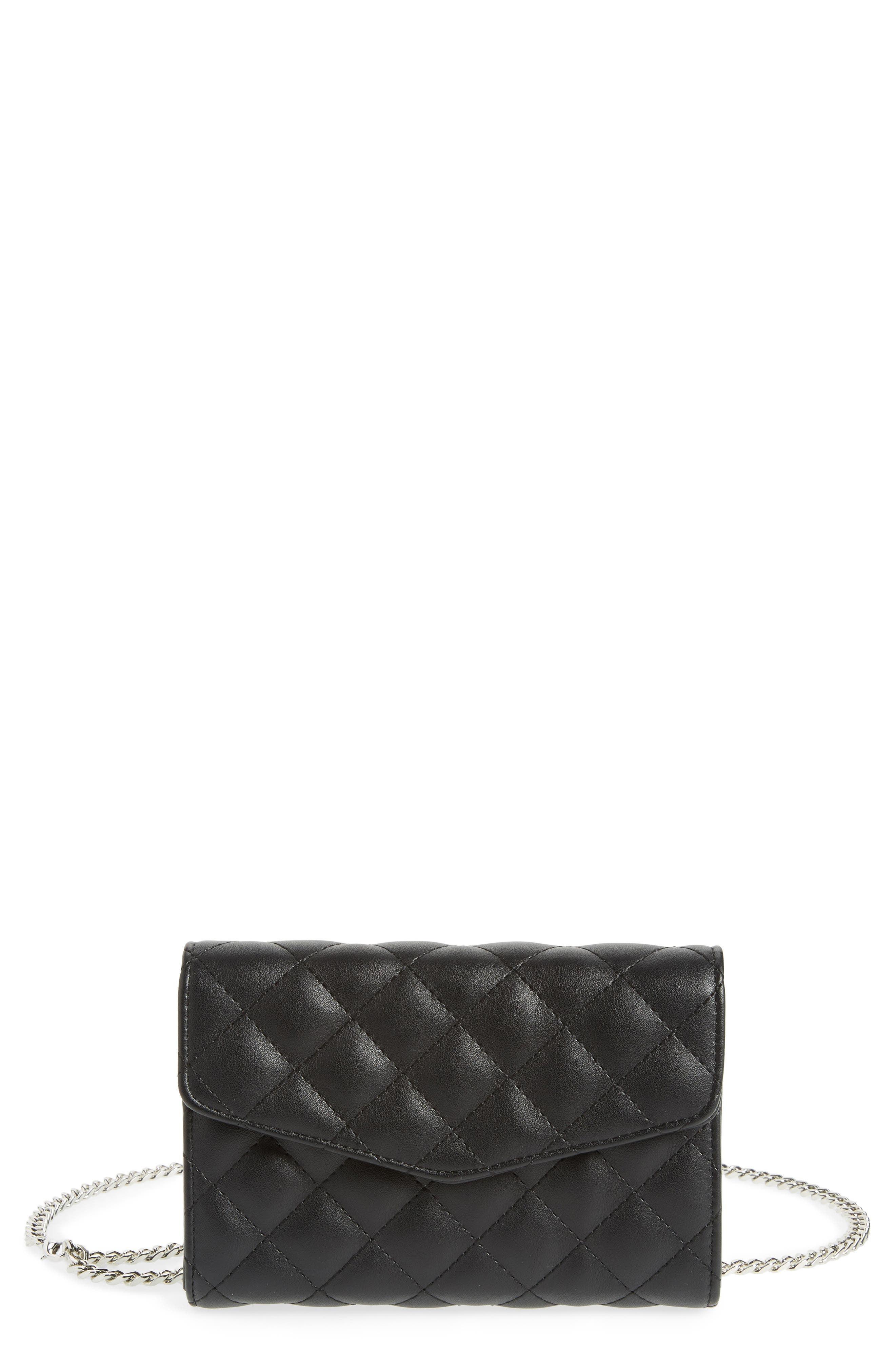 STREET LEVEL QUILTED BAG WITH CROSSBODY STRAP - BLACK