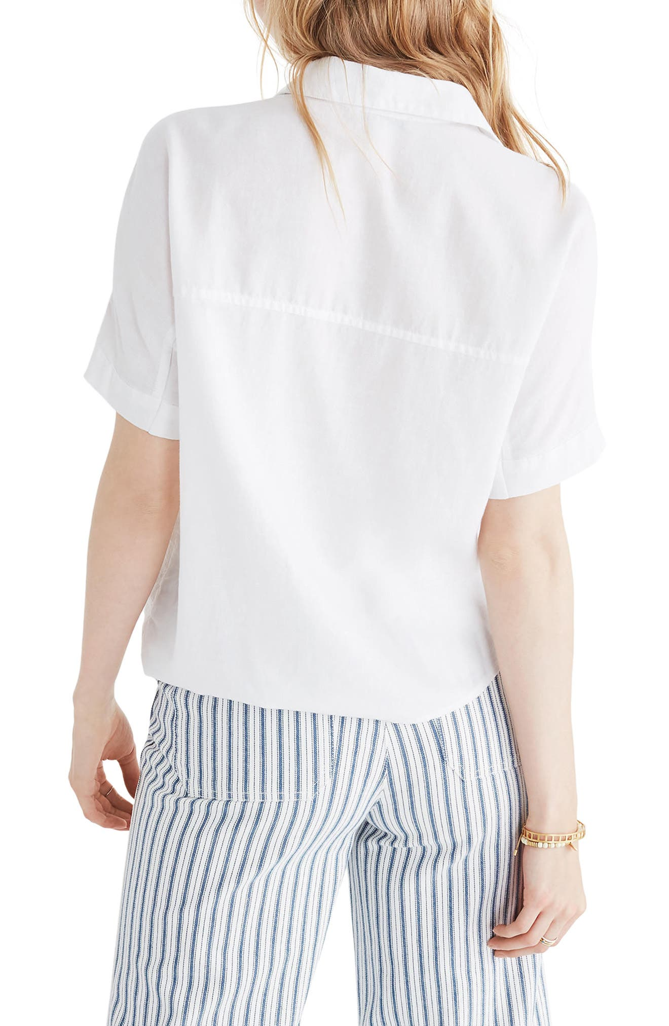 Short Sleeve Tie Front Shirt,                             Alternate thumbnail 2, color,                             Eyelet White
