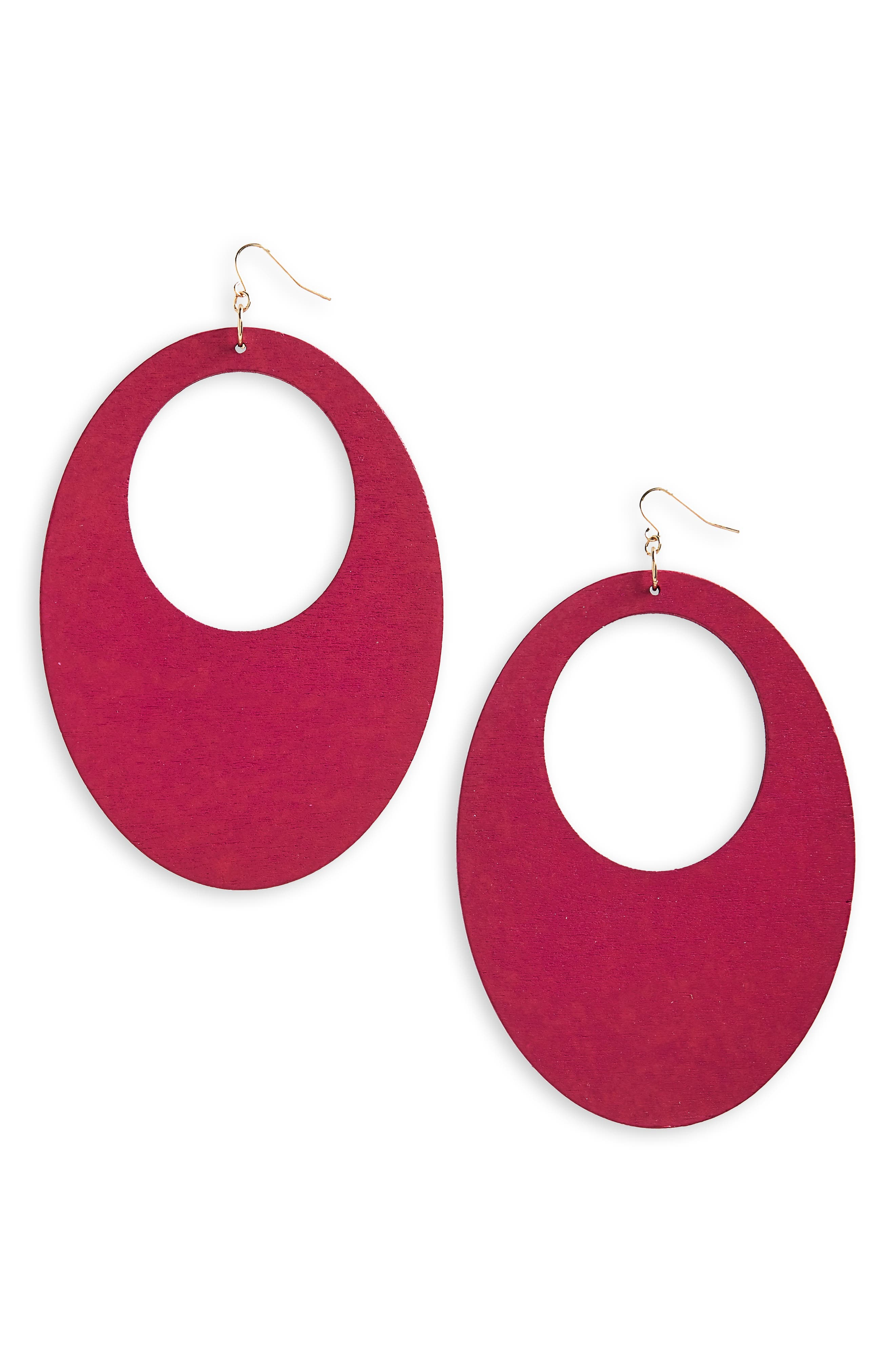 Couture Wood Earrings,                         Main,                         color, Hot Pink