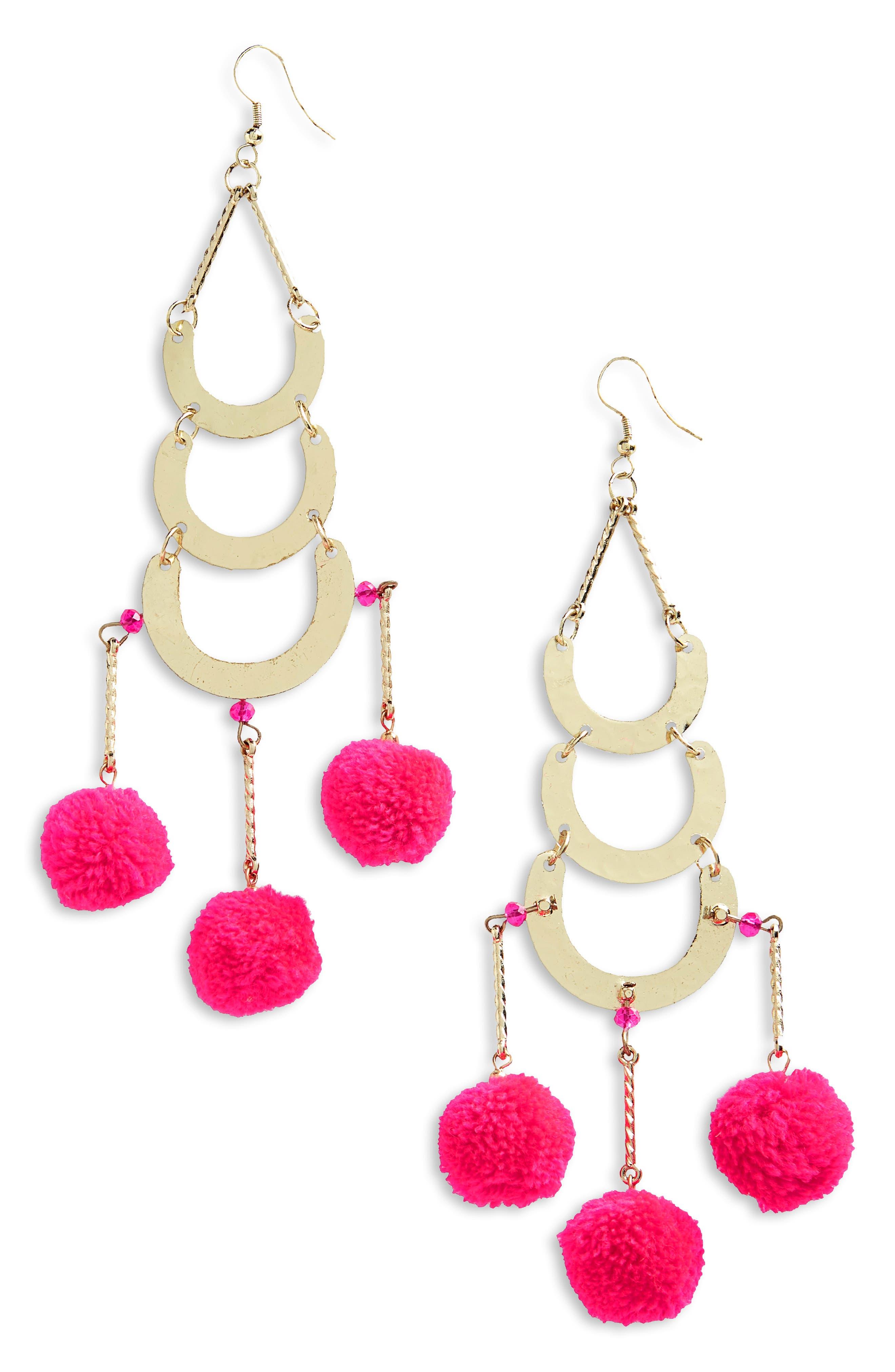 Balboa Earrings,                             Main thumbnail 1, color,                             Fuschia