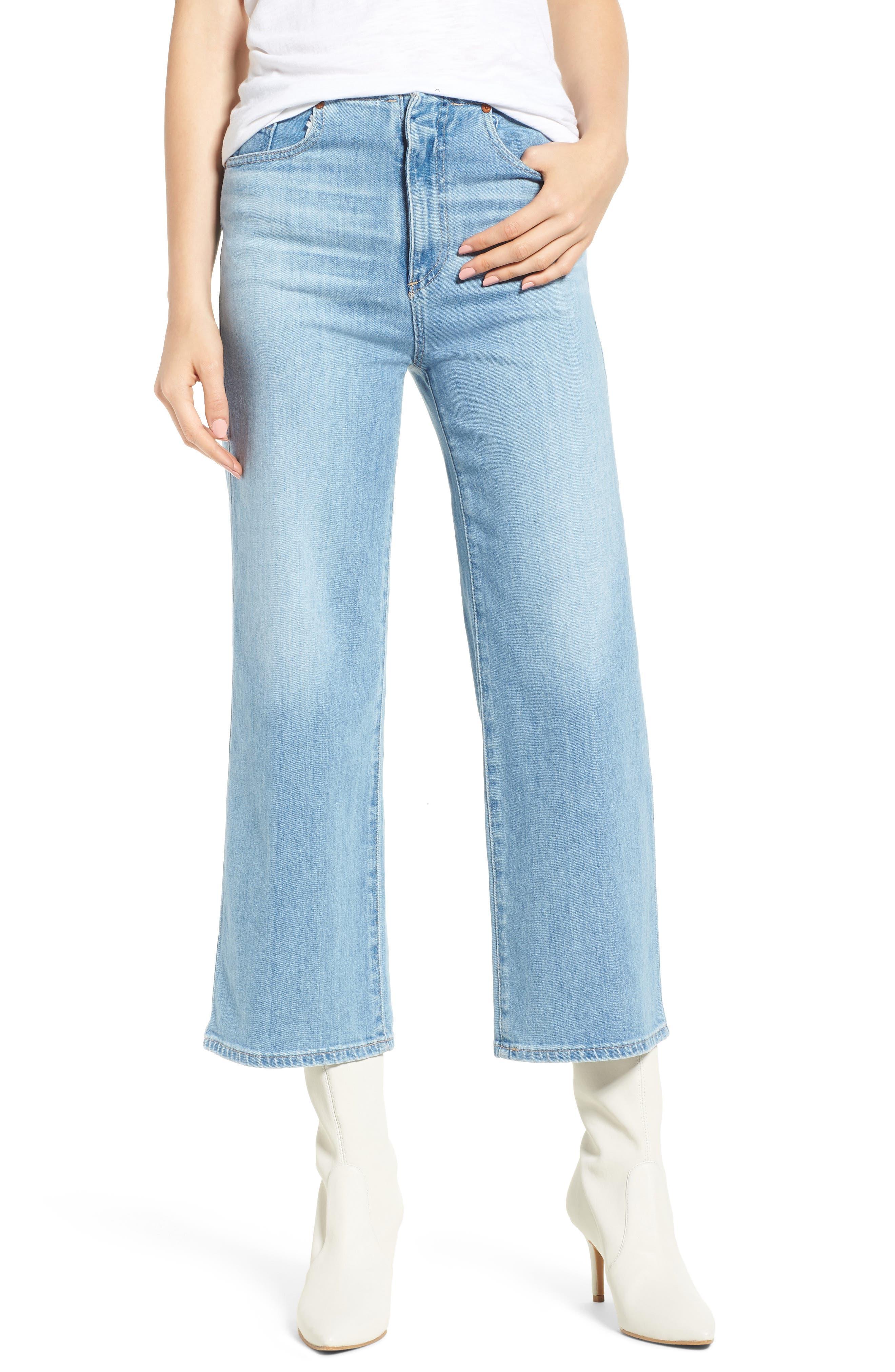 AG Etta High Waist Crop Wide Leg Jeans (Sunlight Blue)