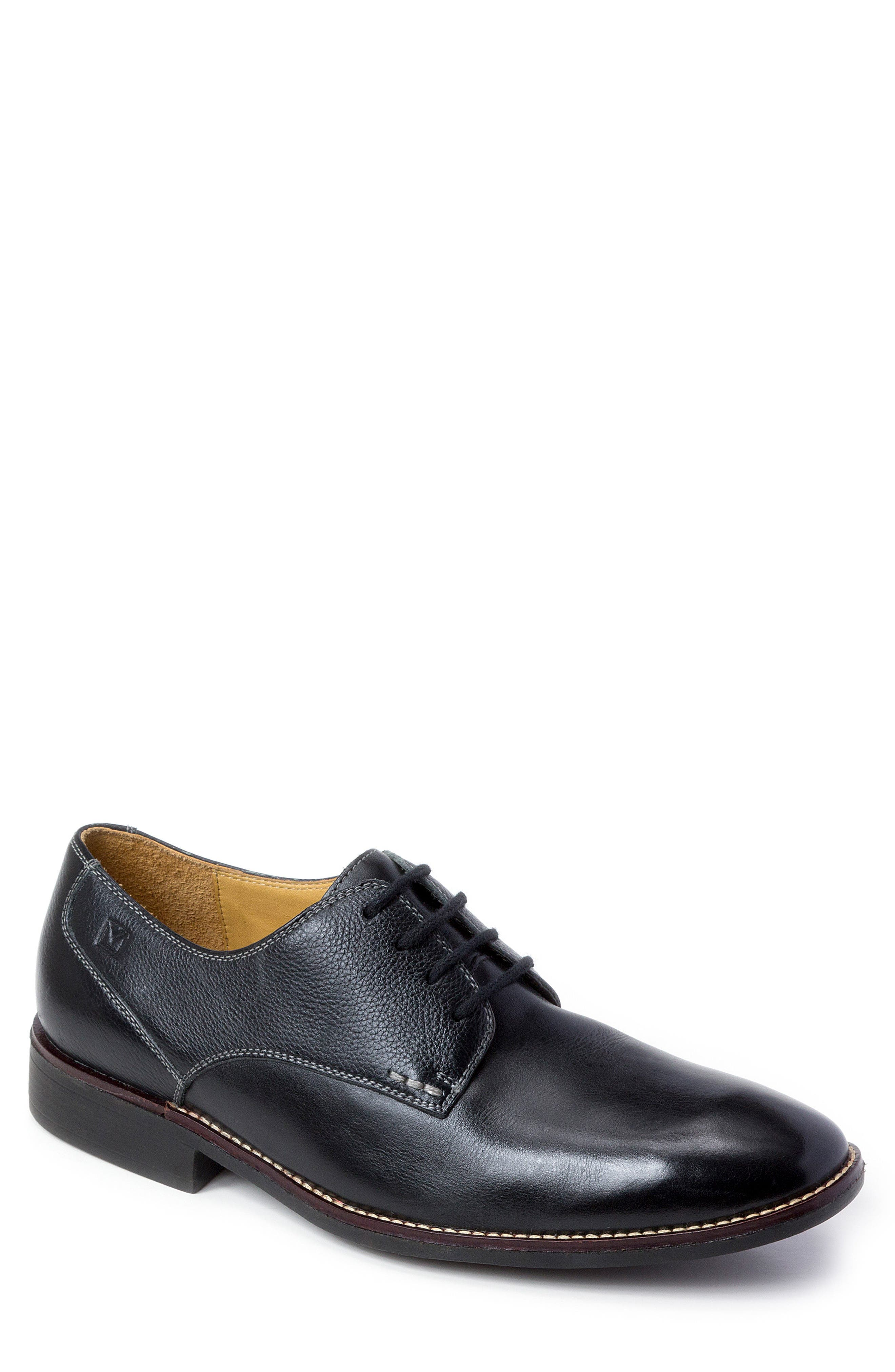 'Olsen' Plain Toe Derby,                             Main thumbnail 1, color,                             Black Leather