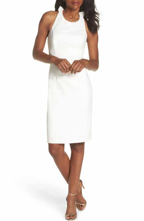 vince camuto sleeveless ruffle back sheath dress