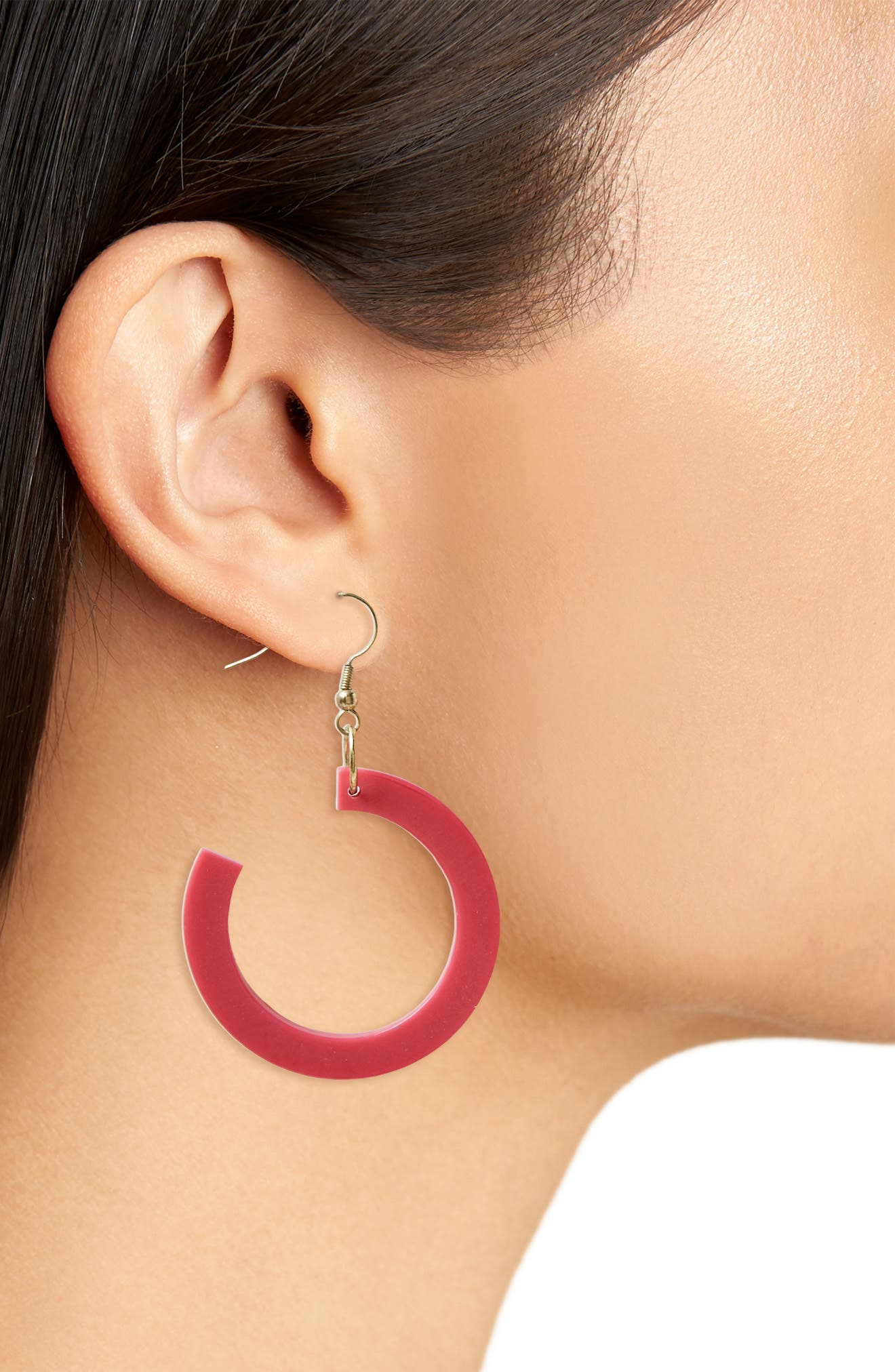 Reef Earrings,                             Alternate thumbnail 2, color,                             Fuschia