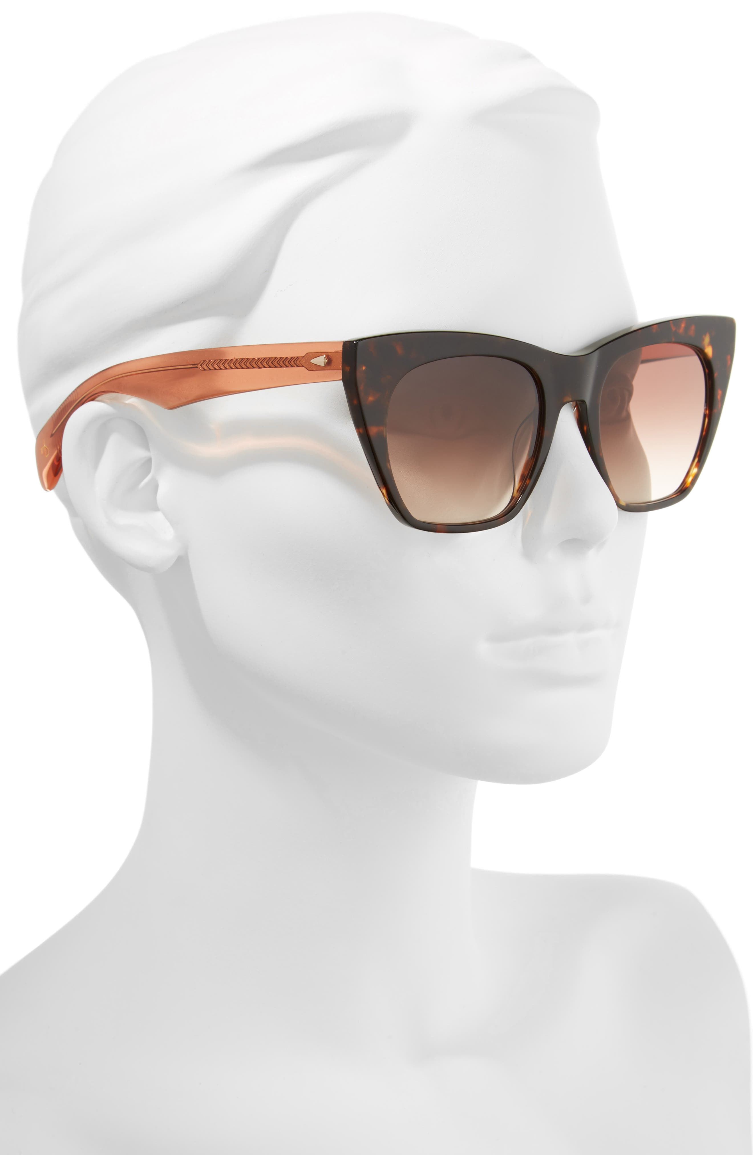 52mm Cat Eye Sunglasses,                             Alternate thumbnail 2, color,                             Havana Orange