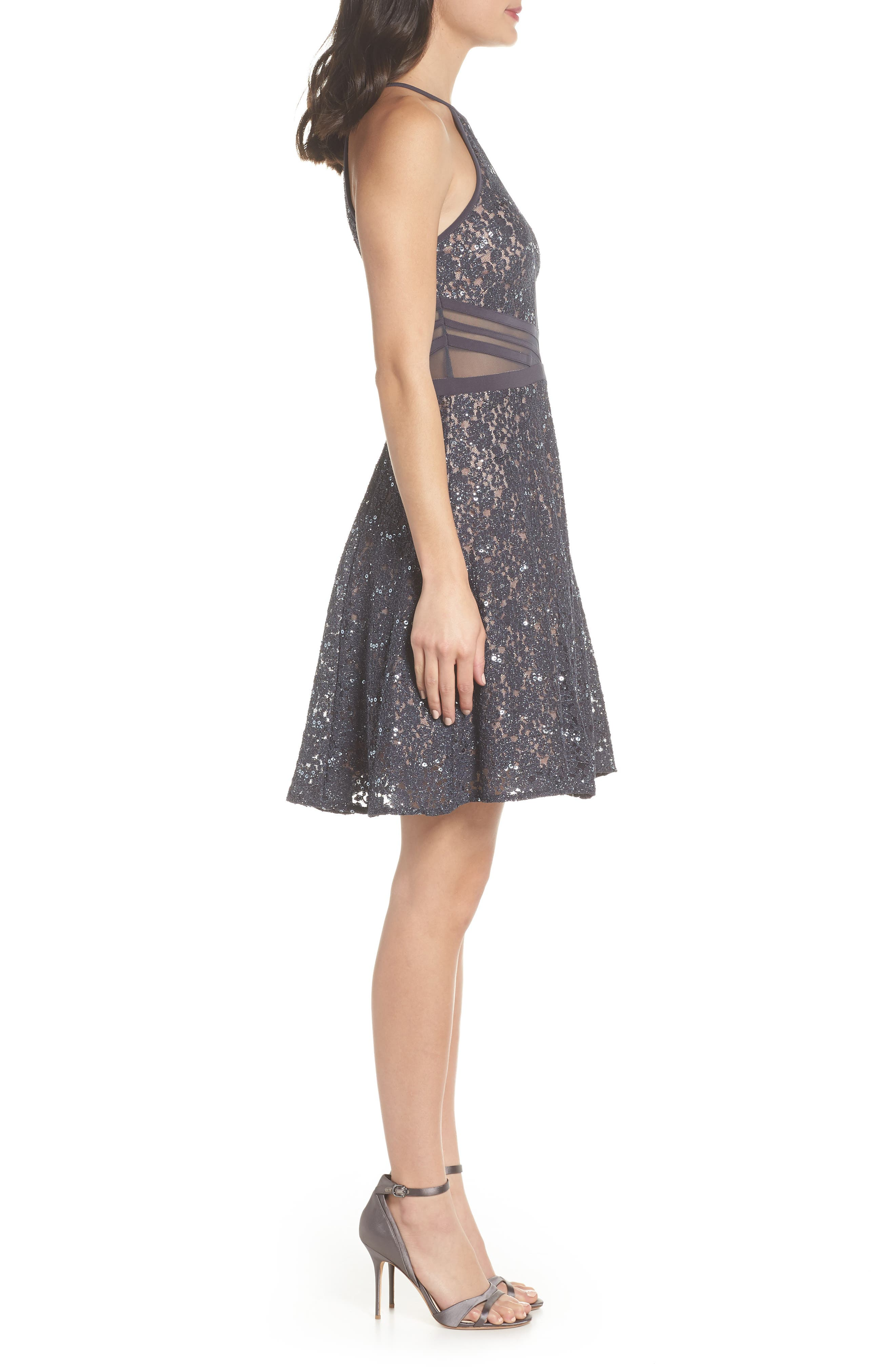 Sheer Inset Lace Fit & Flare Dress,                             Alternate thumbnail 3, color,                             Charcoal/ Nude