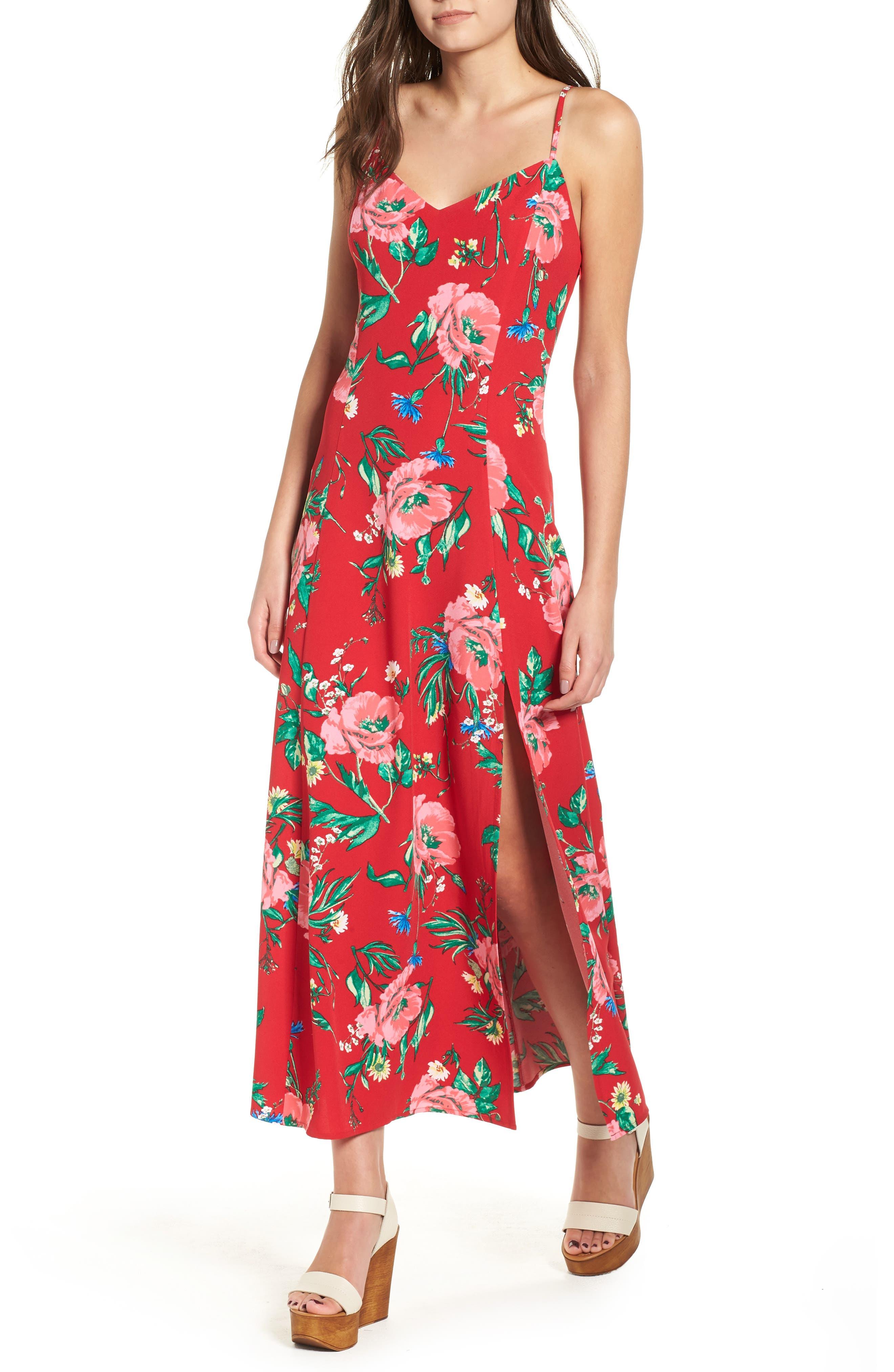Floral Long Sleeve Wrap Dress - Red blossom print Glamorous OkkNBbB61A