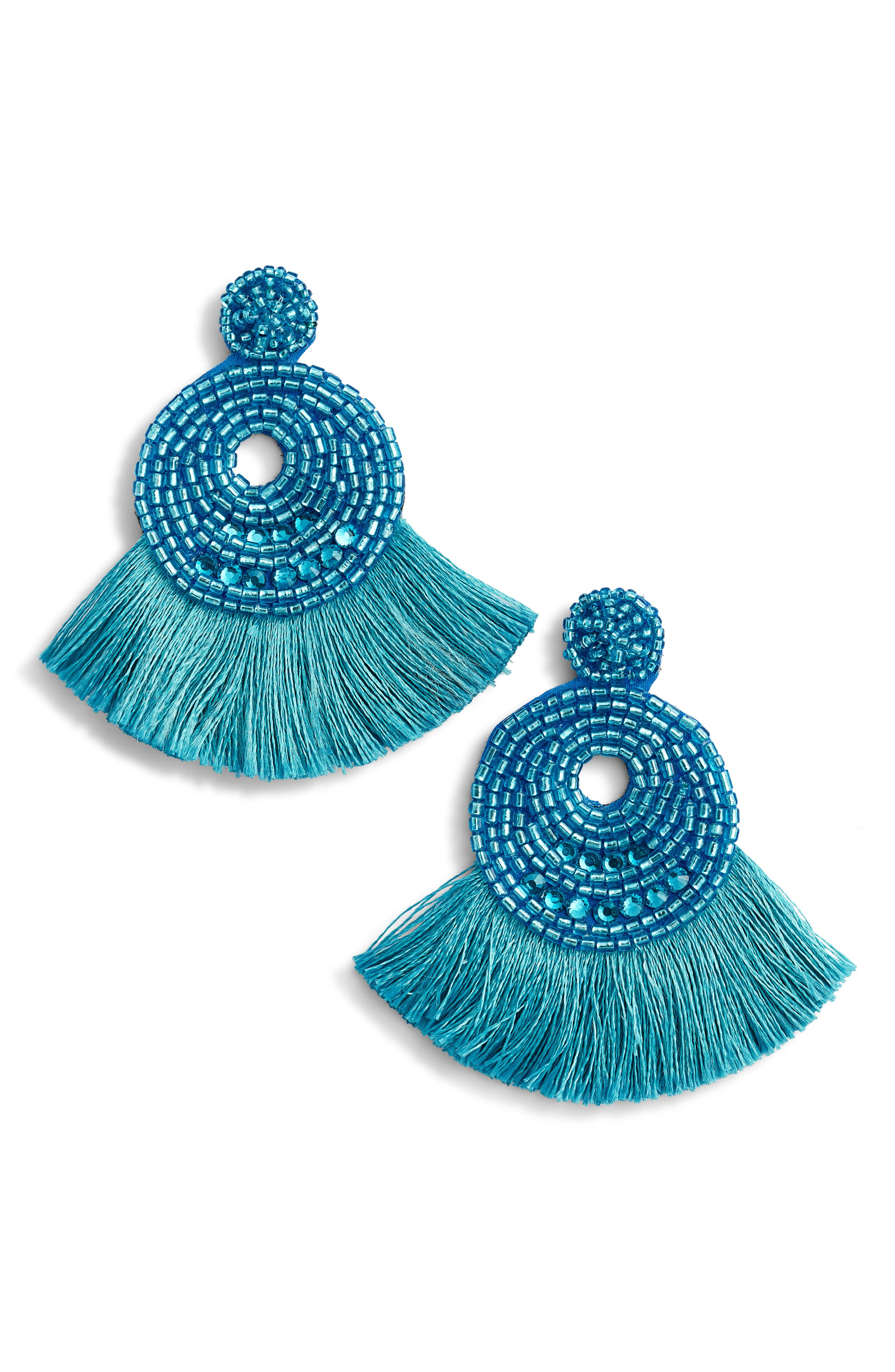 Tasha Seedbead Tassel Fan Earrings