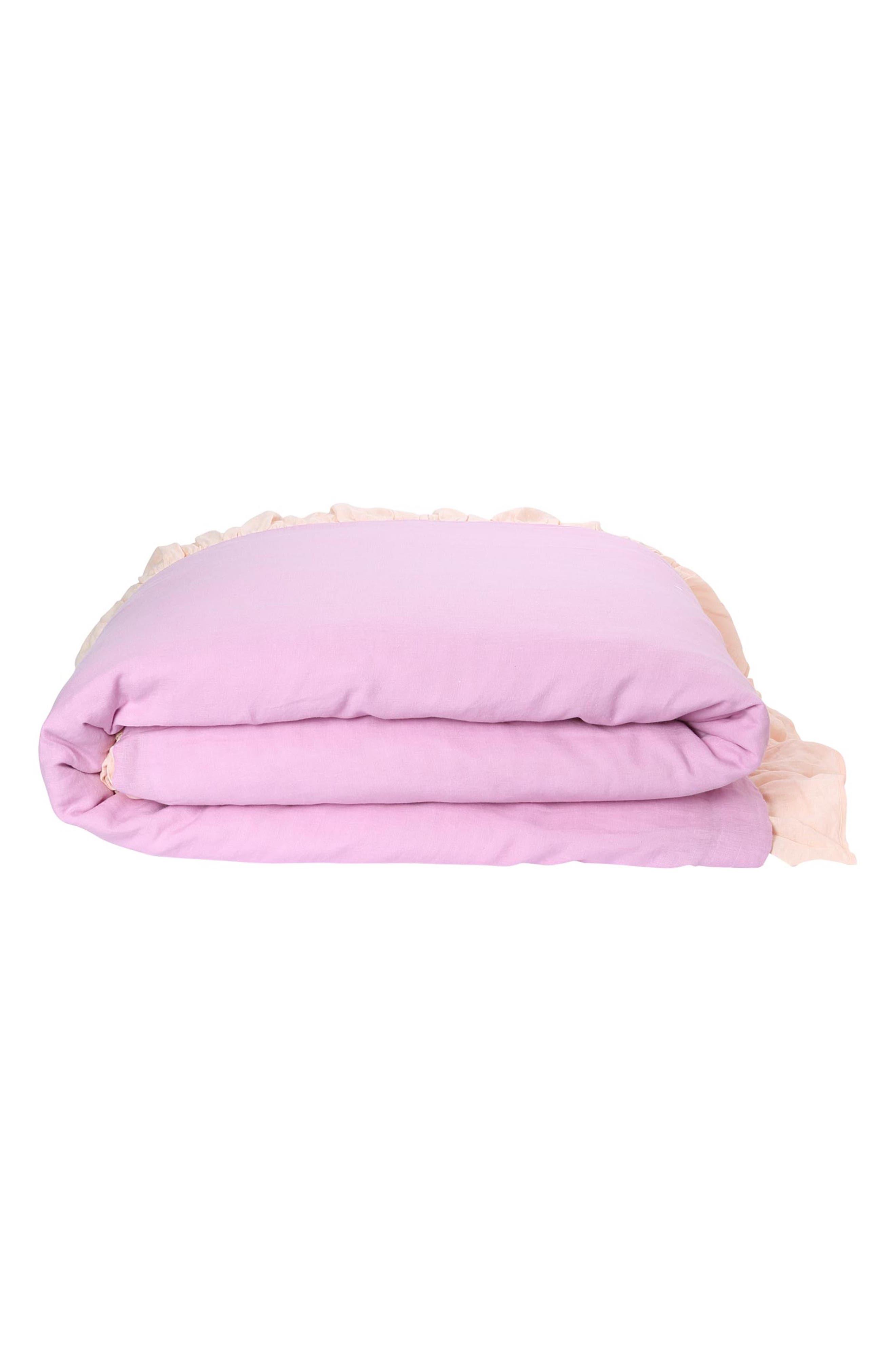 Ruffle Reversible Linen Comforter,                             Main thumbnail 1, color,                             Multi