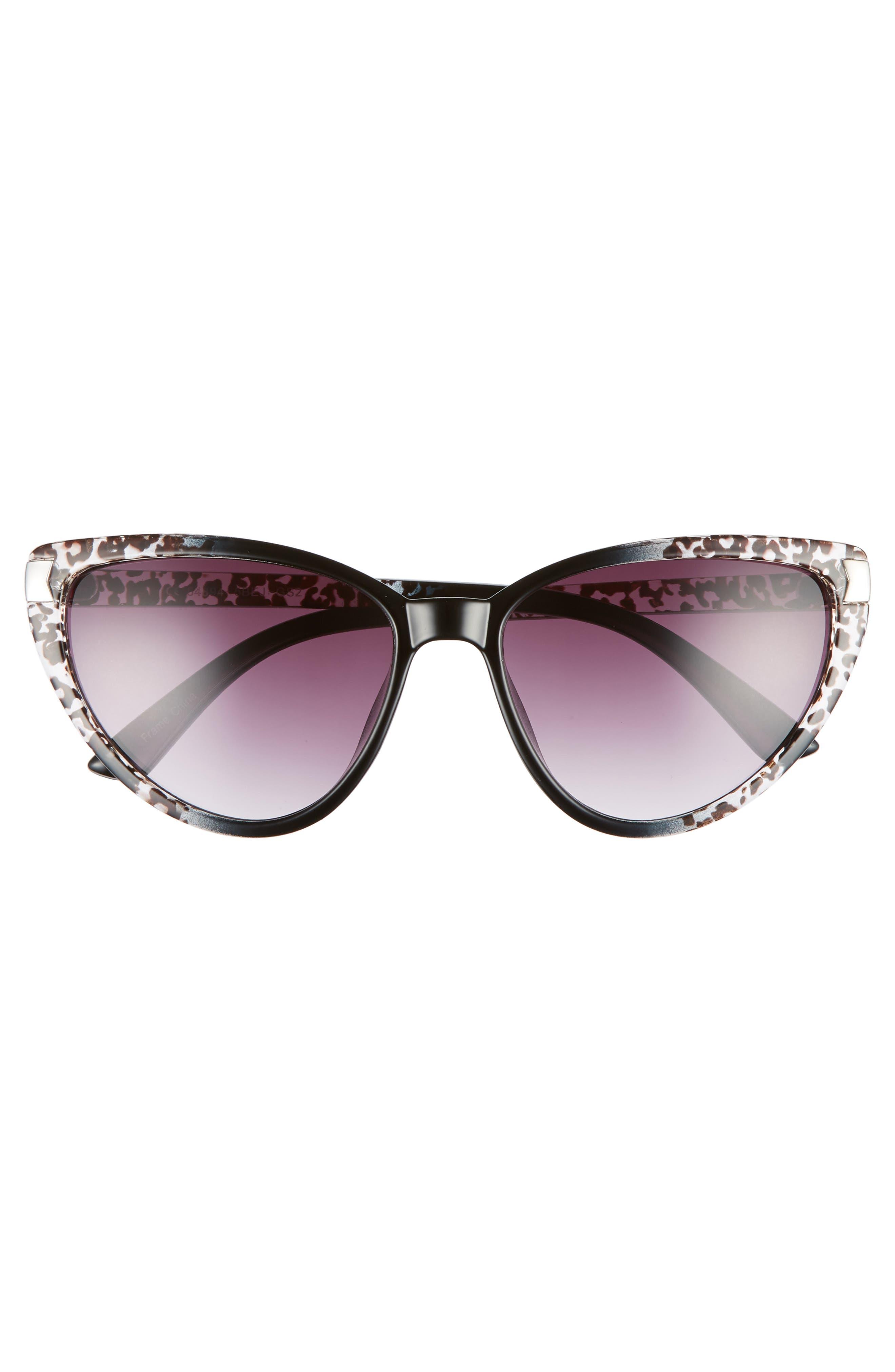 57mm Spotted Cat Eye Sunglasses,                             Alternate thumbnail 3, color,                             Black/ White