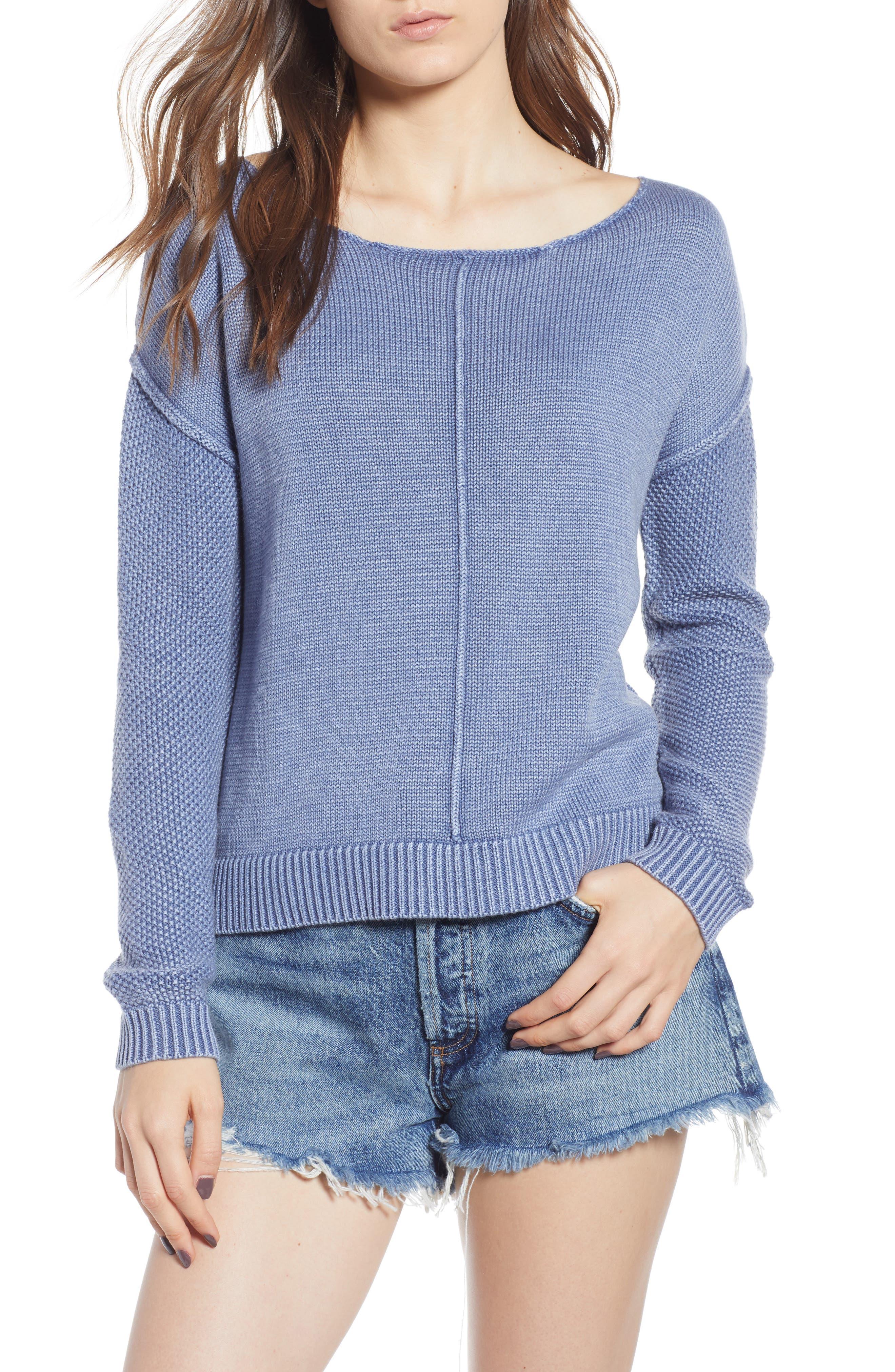 Erin Knit Sweater,                         Main,                         color, Sand Washed Indigo