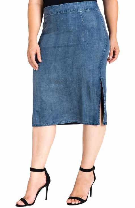 6e9f2c527689d Standards   Practices Jade Side Slit Pencil Skirt (Plus Size)