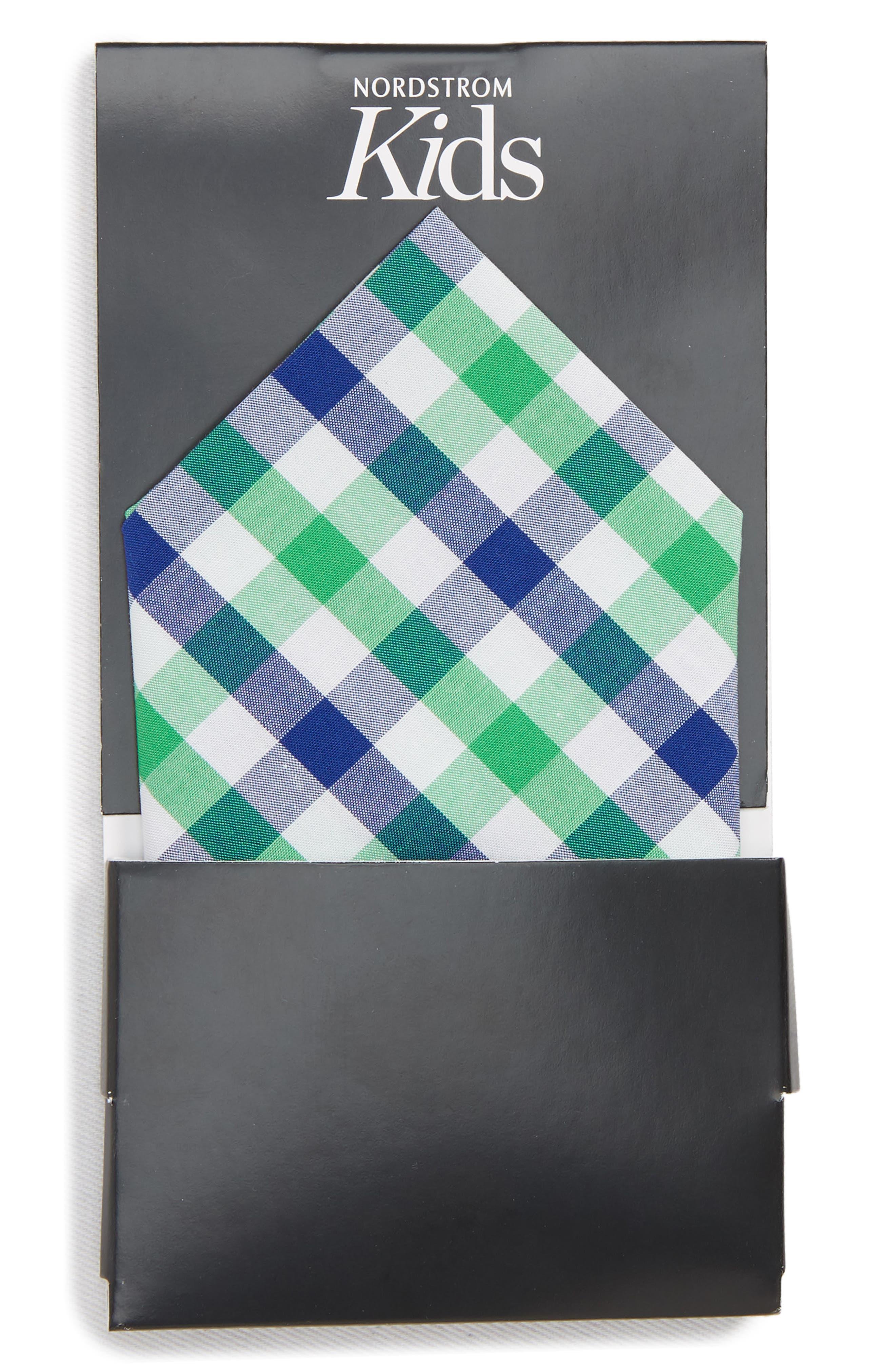 Gingham Pocket Square,                             Alternate thumbnail 3, color,                             Green