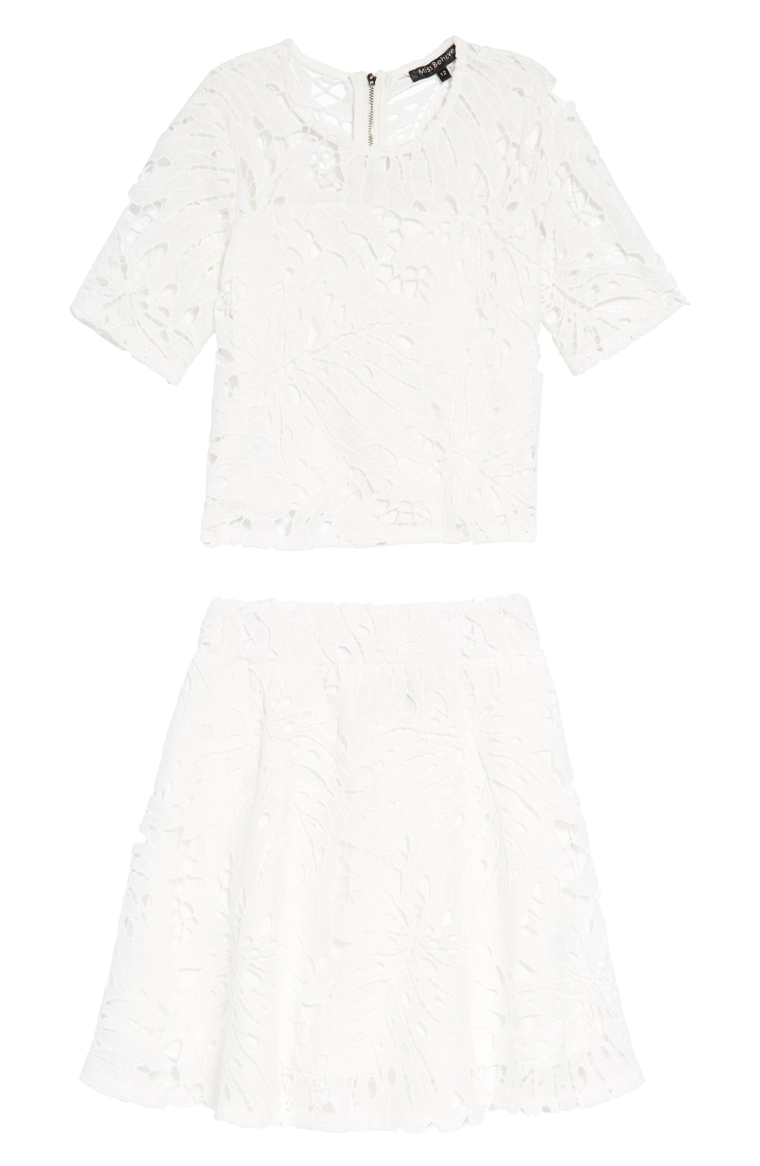 Casey Two-Piece Lace Dress,                         Main,                         color, White
