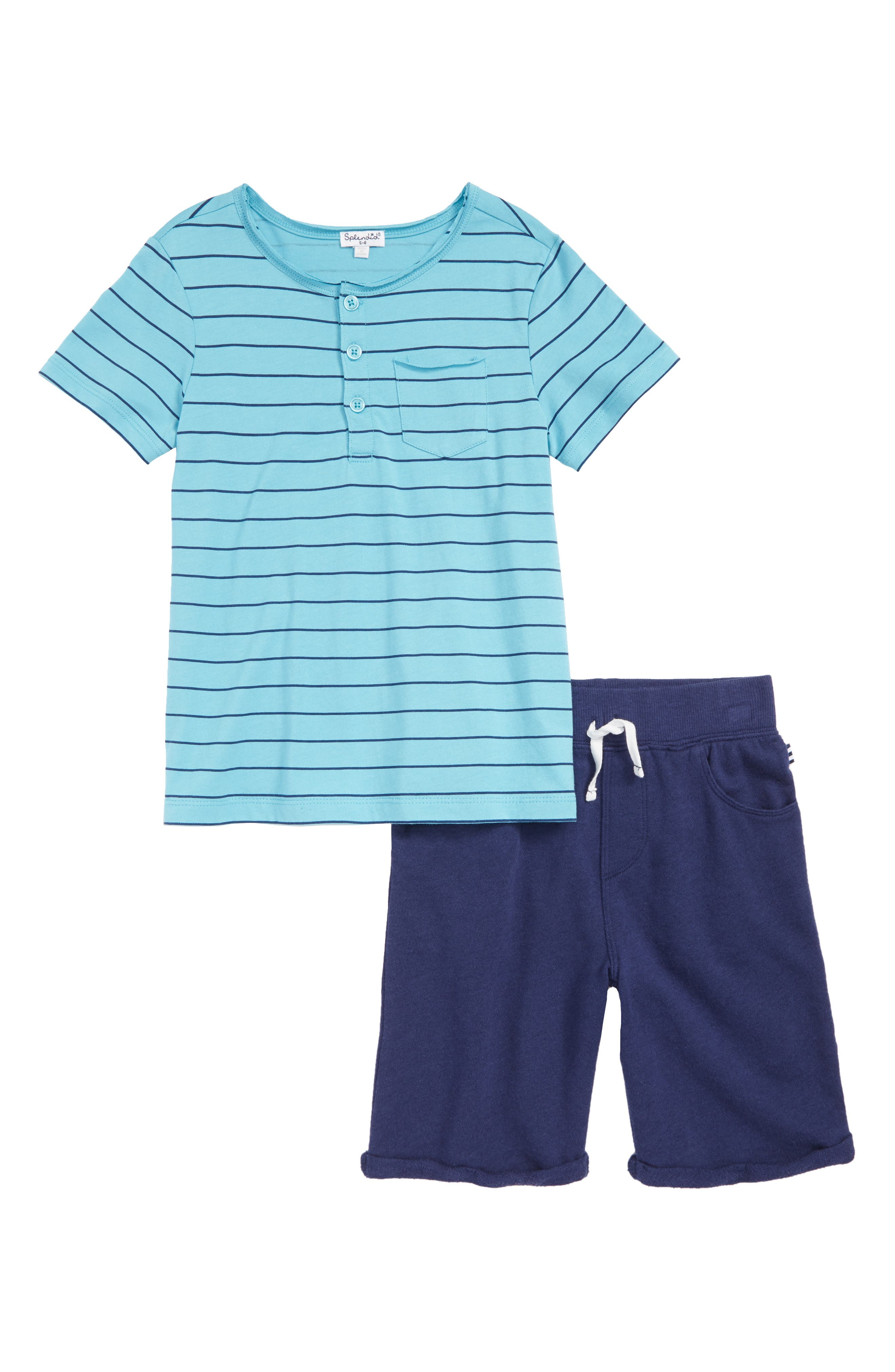 Stripe Henley T-Shirt & Shorts Set,                         Main,                         color, Maui Blue