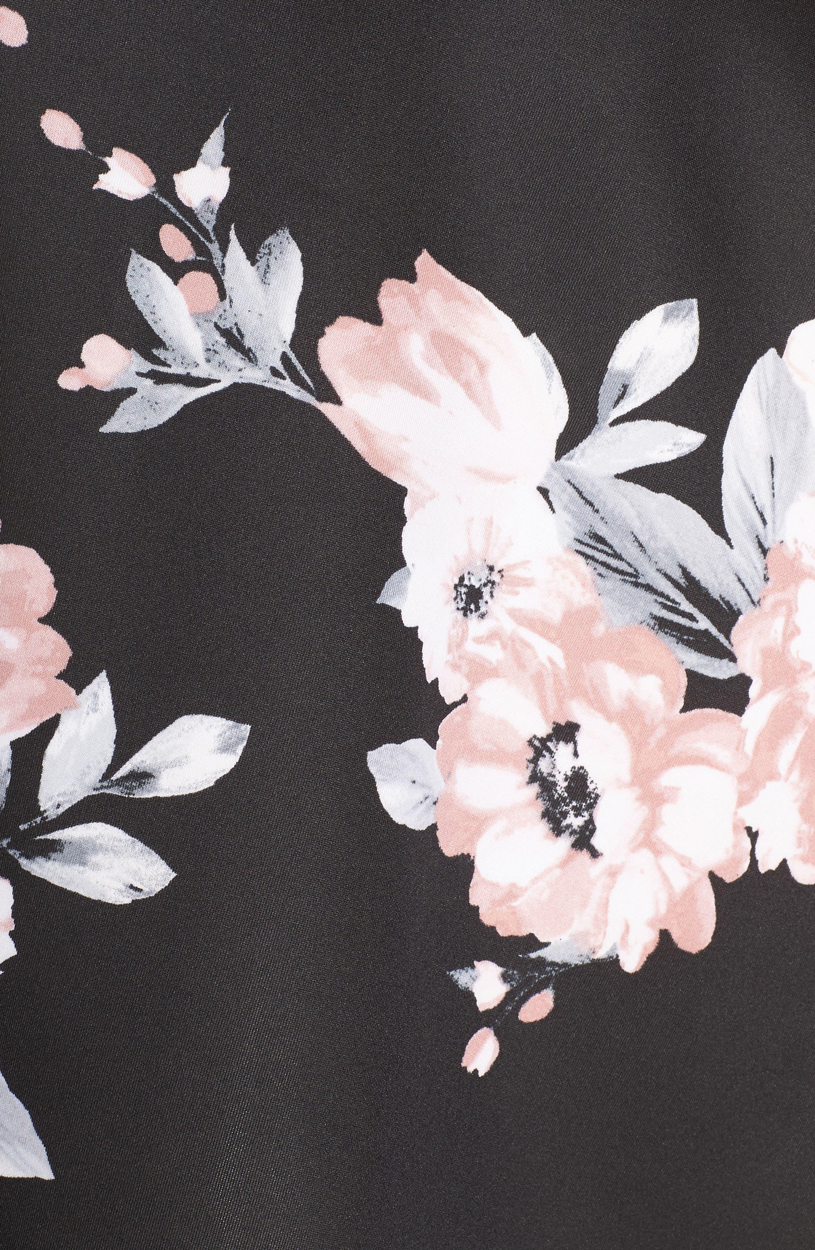 Floral Print Fit & Flare Dress,                             Alternate thumbnail 5, color,                             Black/ Mauve
