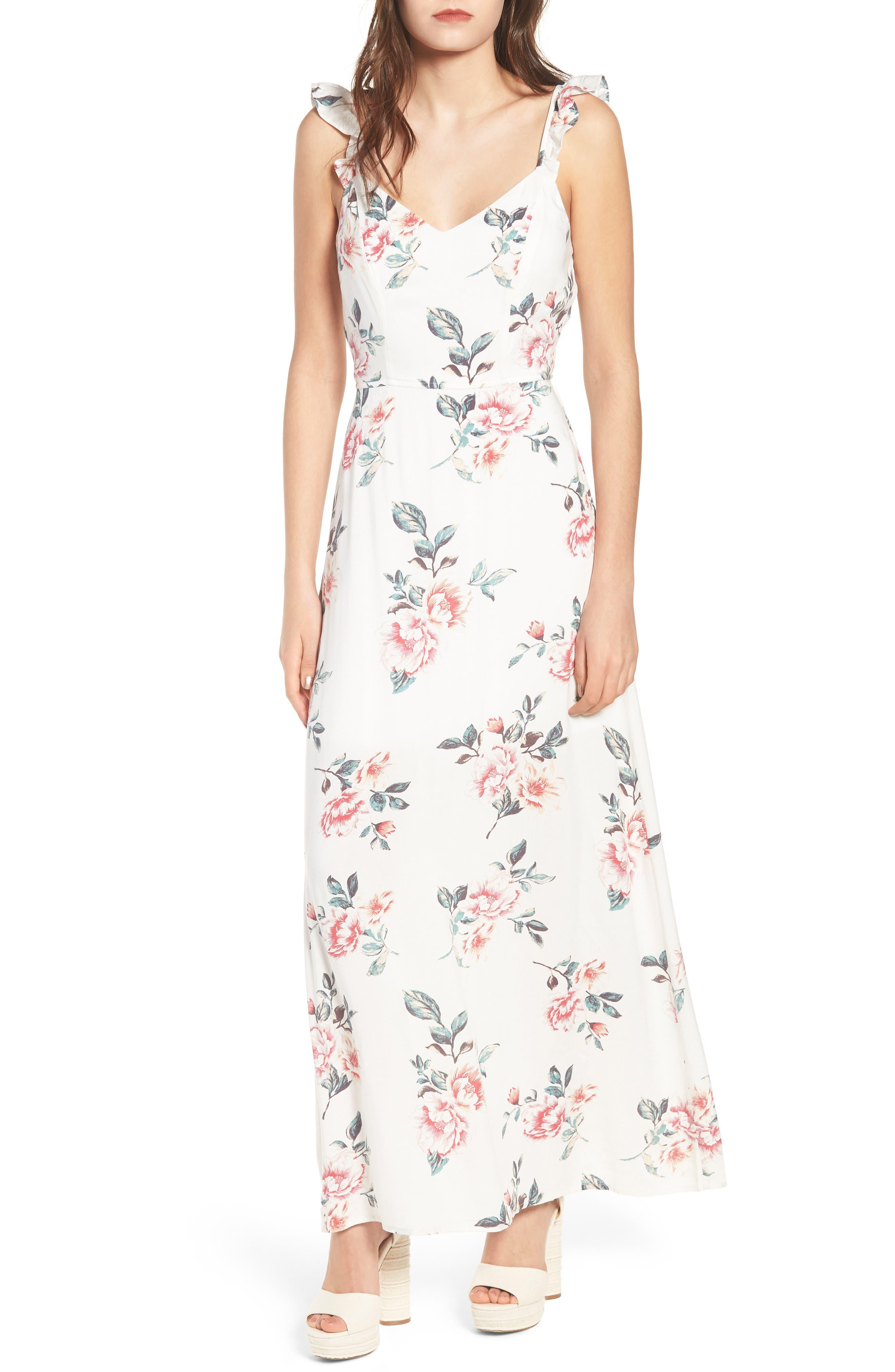 Flutter Sleeve Maxi Dress,                         Main,                         color, Ivory Floral