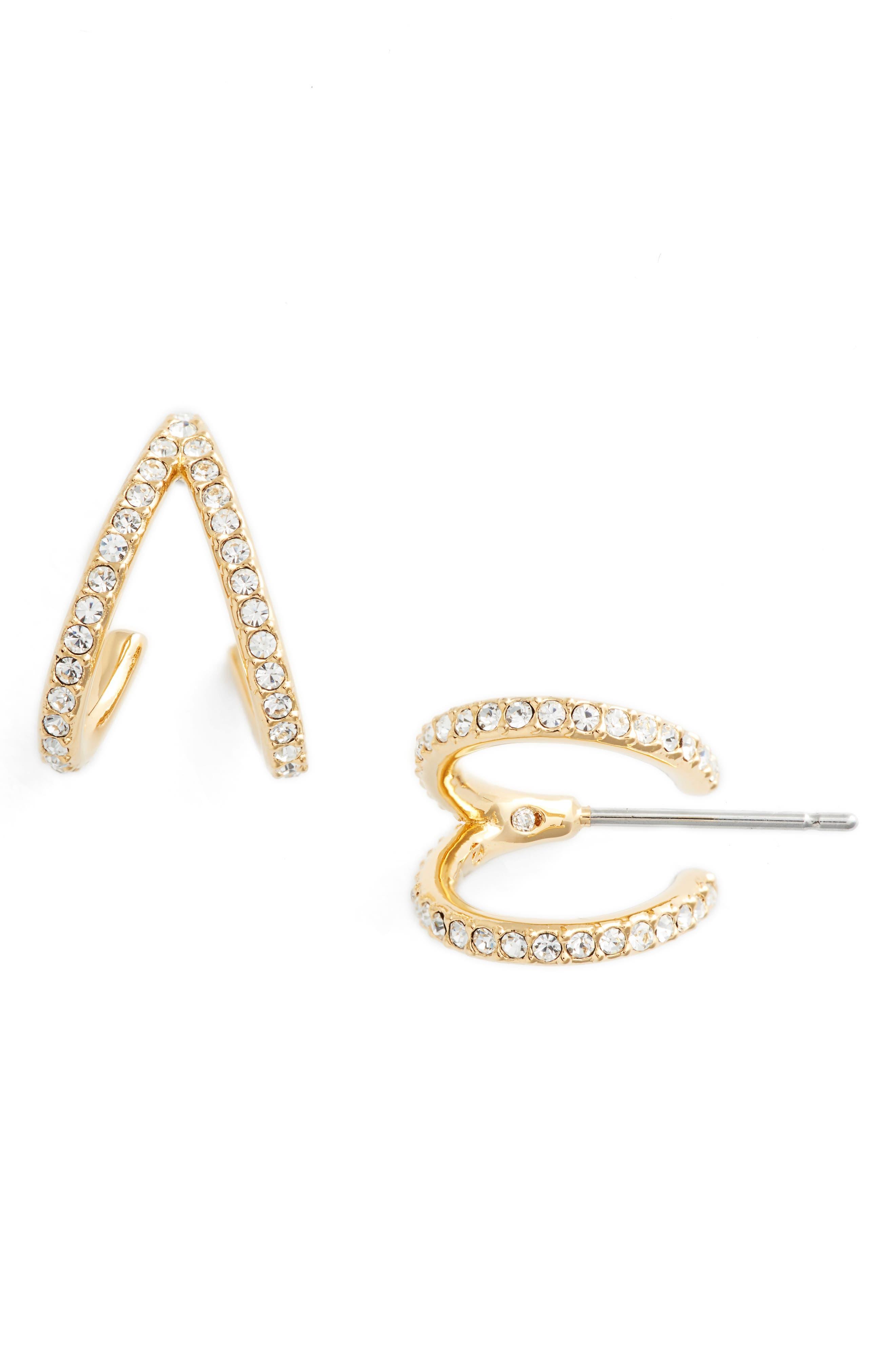 Reverse-V Hoop Earrings,                         Main,                         color, Gold