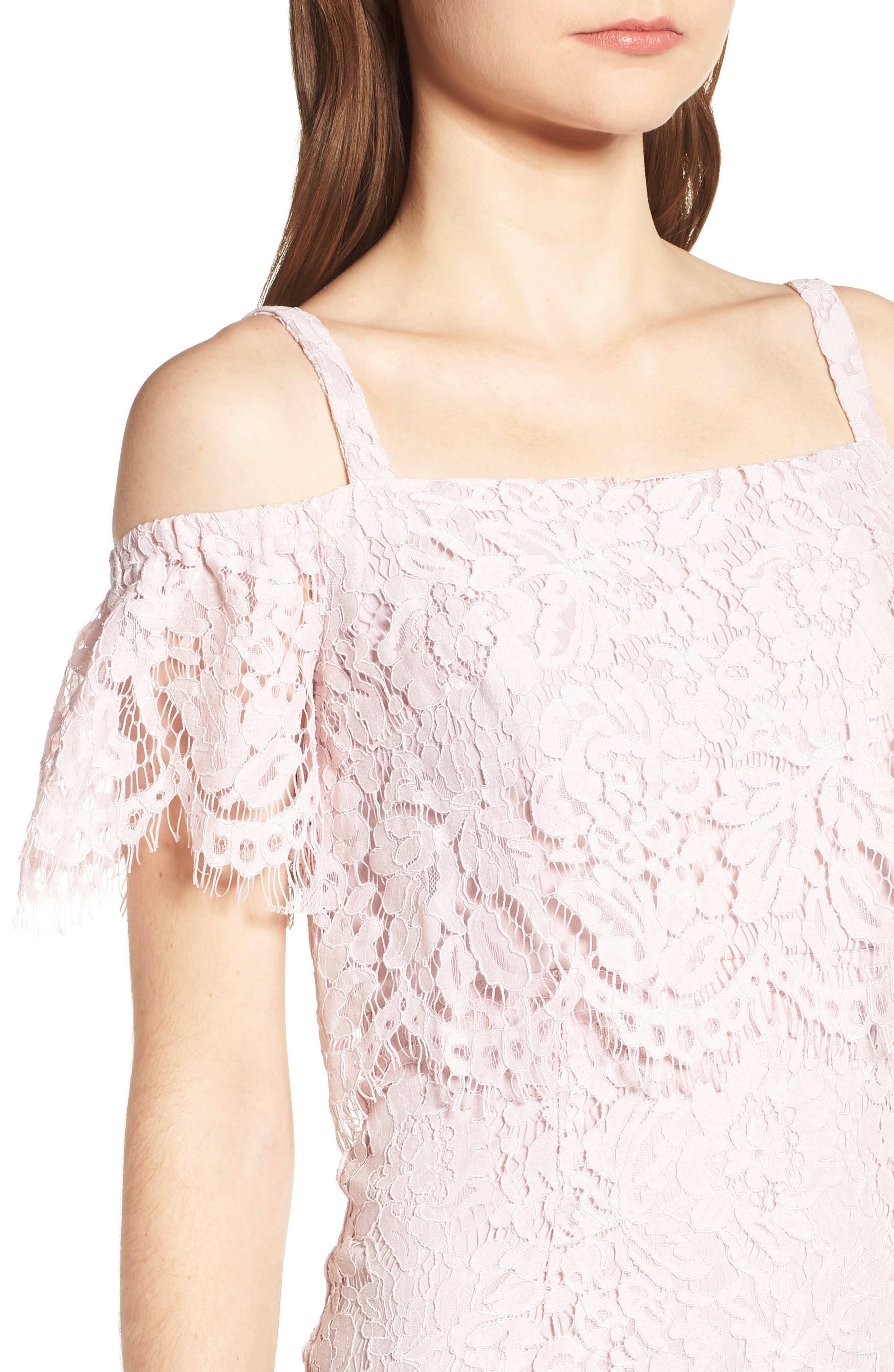 Popover Lace Dress,                             Alternate thumbnail 4, color,                             Pale Pink
