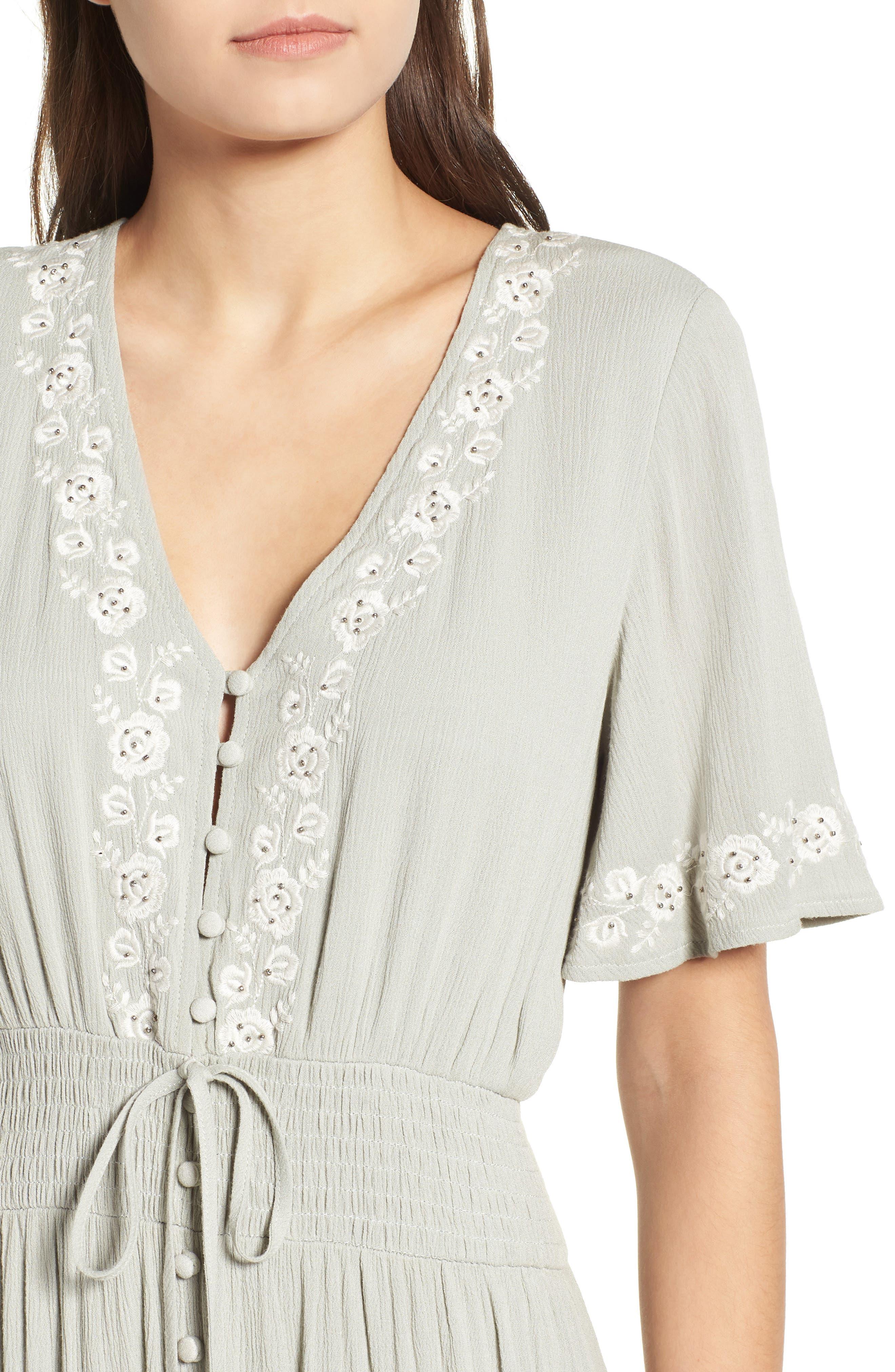 Athena Embroidered Maxi Dress,                             Alternate thumbnail 6, color,                             Sage