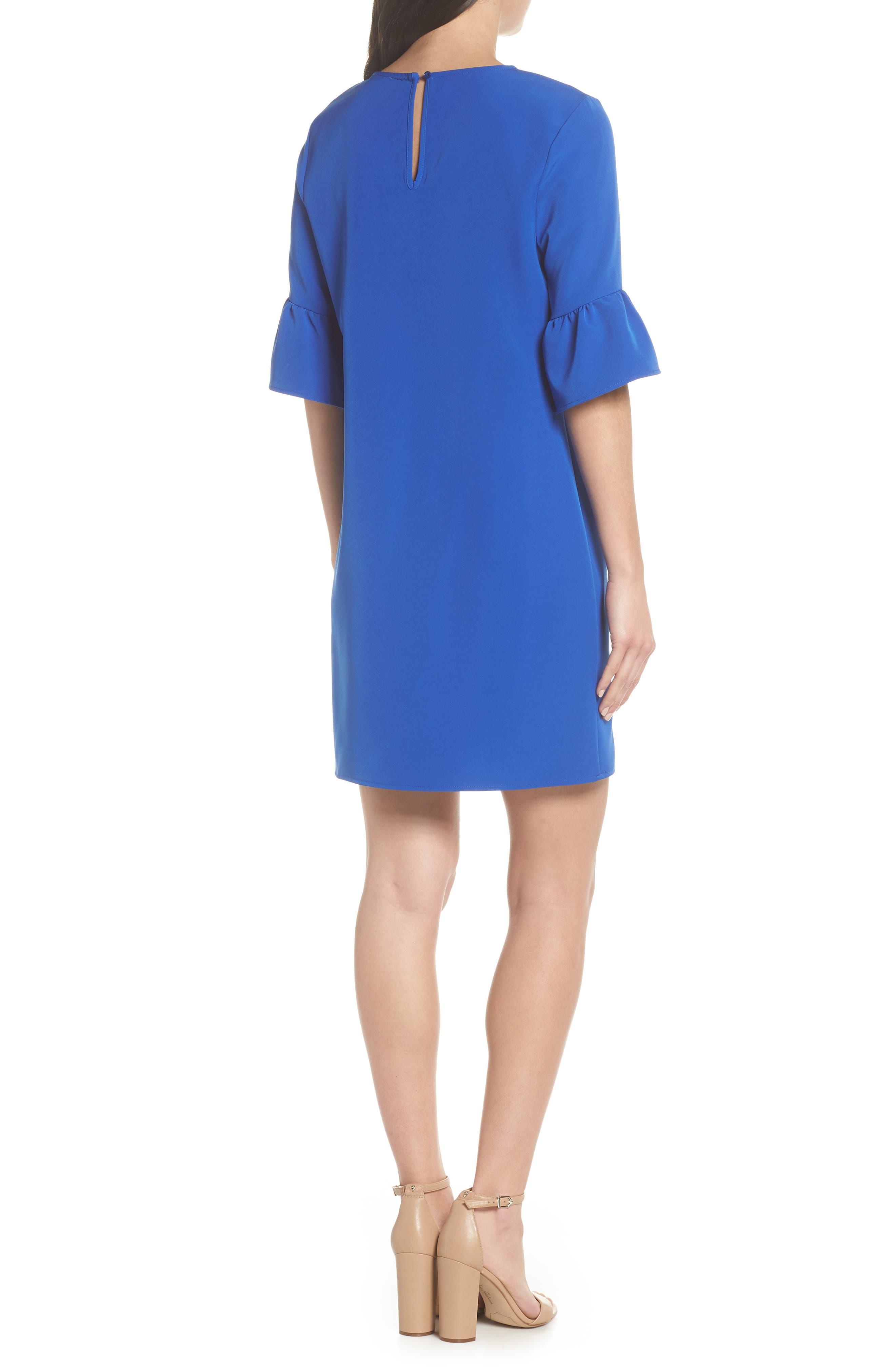 Bell Sleeve Shift Dress,                             Alternate thumbnail 2, color,                             Patriot Blue