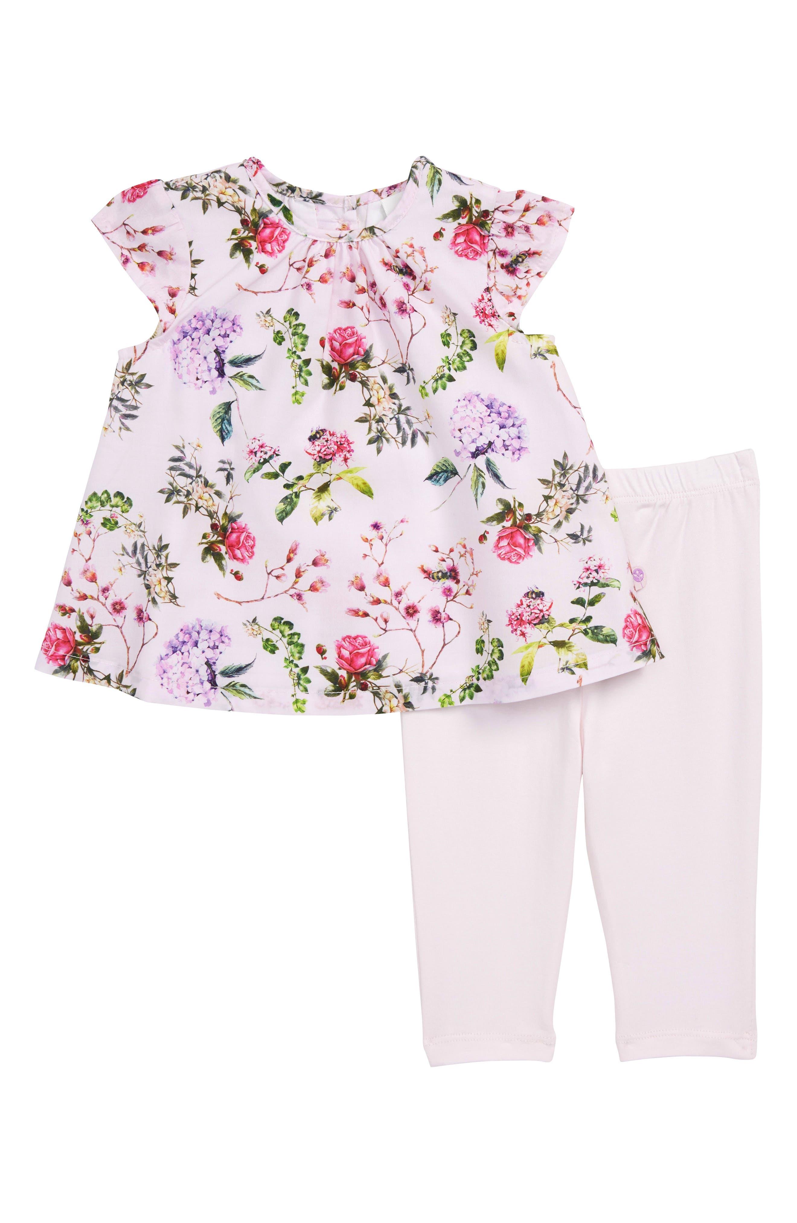 Blooms Tunic & Leggings Set,                             Main thumbnail 1, color,                             Pink