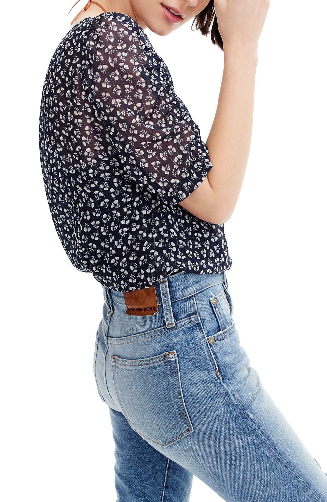 Ruched Sleeve Sparkle Floral Top,                             Alternate thumbnail 2, color,                             Indigo Champagne