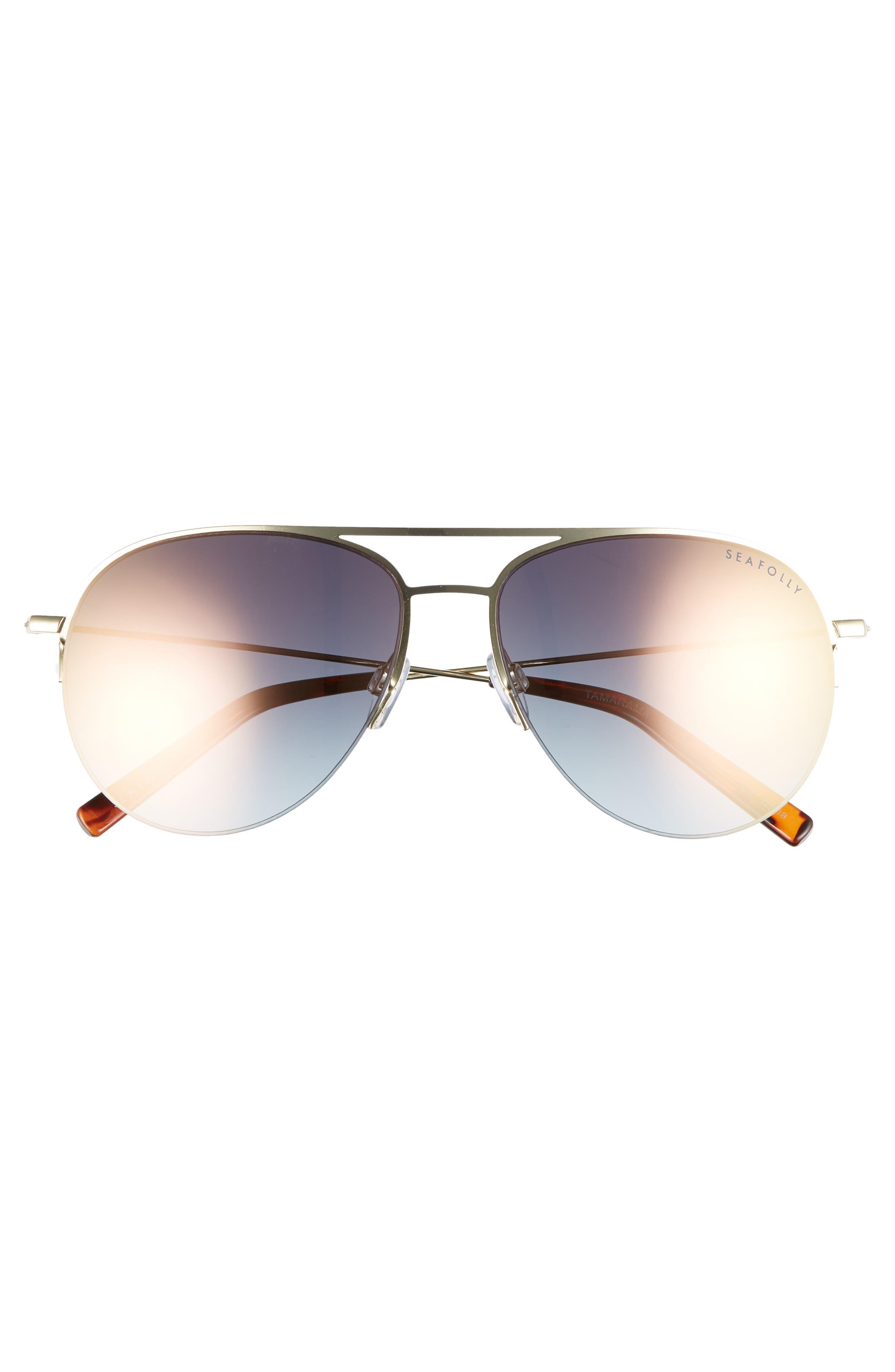 Tamarama 60mm Aviator Sunglasses,                             Alternate thumbnail 3, color,                             Gold