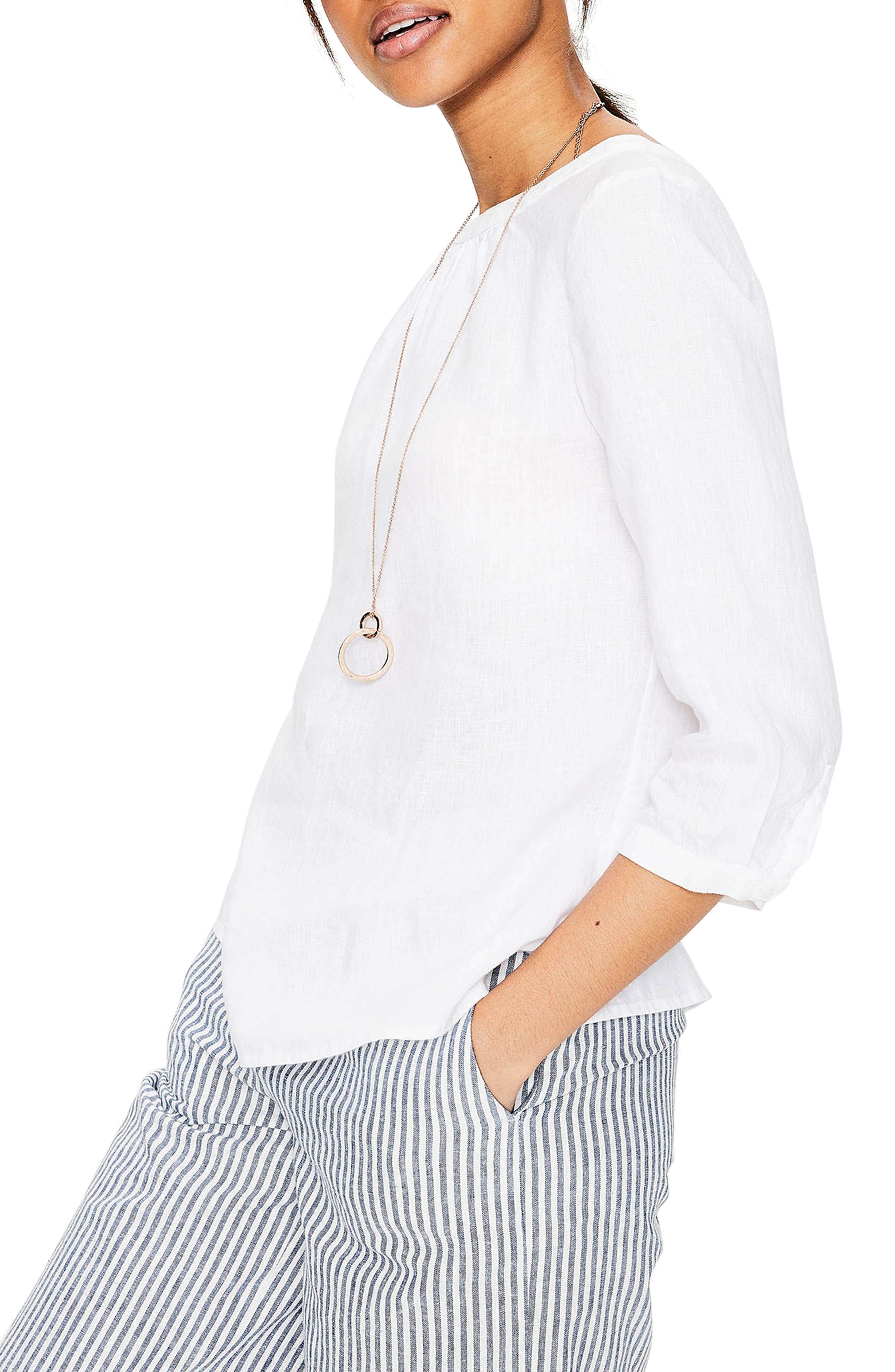 Katie Striped Linen Peasant Top,                             Alternate thumbnail 3, color,                             White