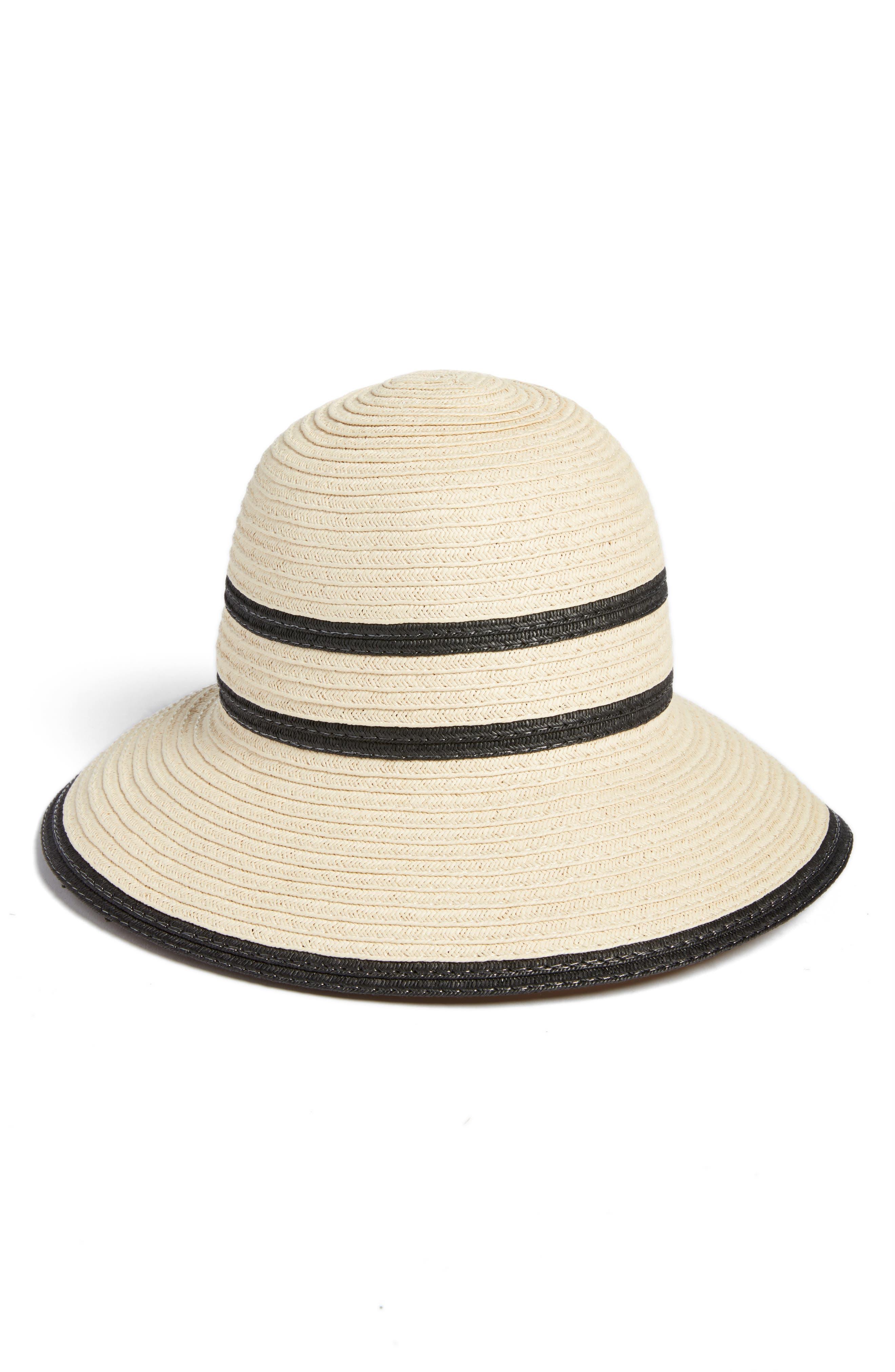 Bondi Straw Cloche Hat,                             Main thumbnail 1, color,                             Stone