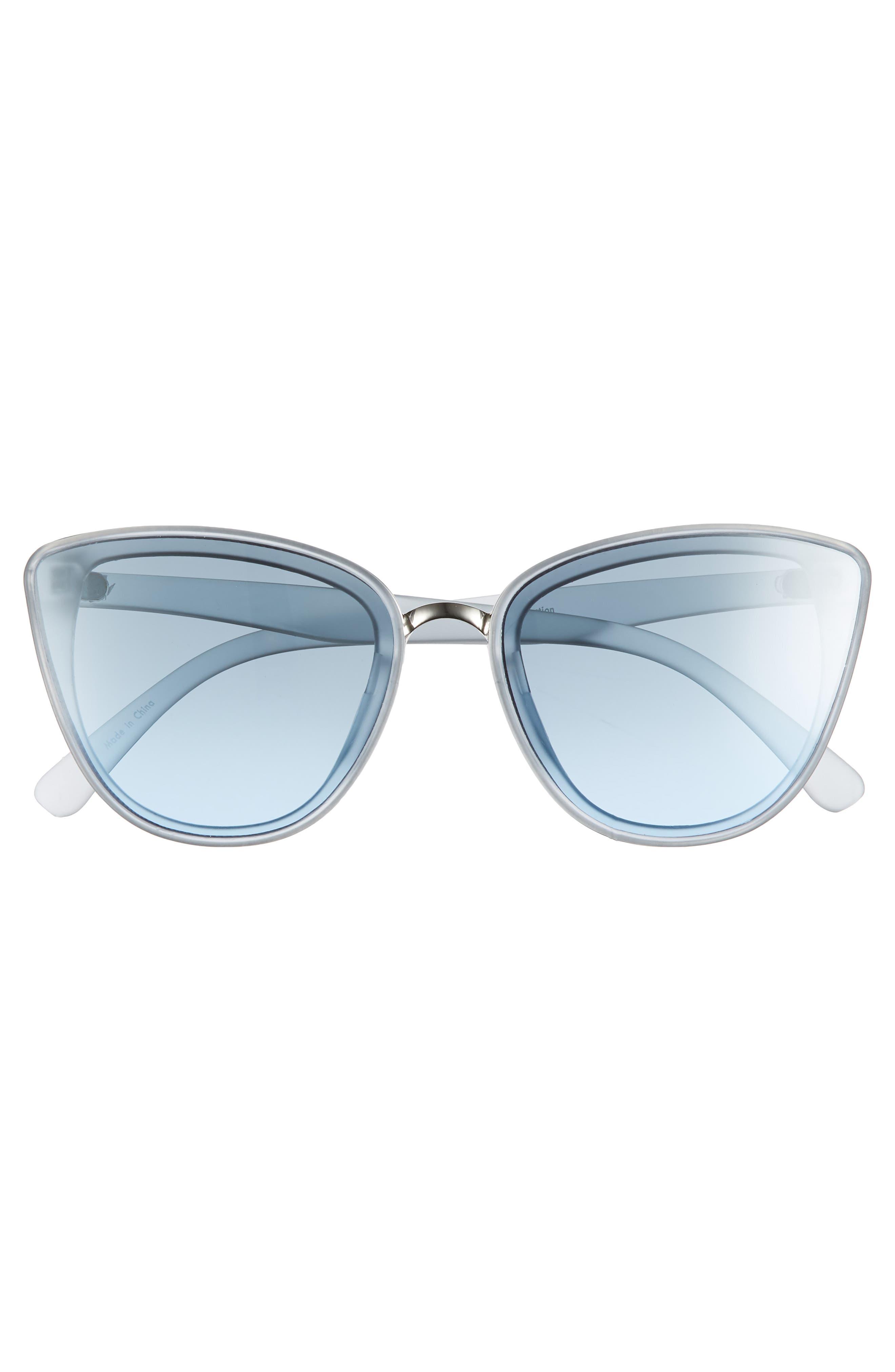 59mm Perfect Cat Eye Sunglasses,                             Alternate thumbnail 3, color,                             Blue/ Blue