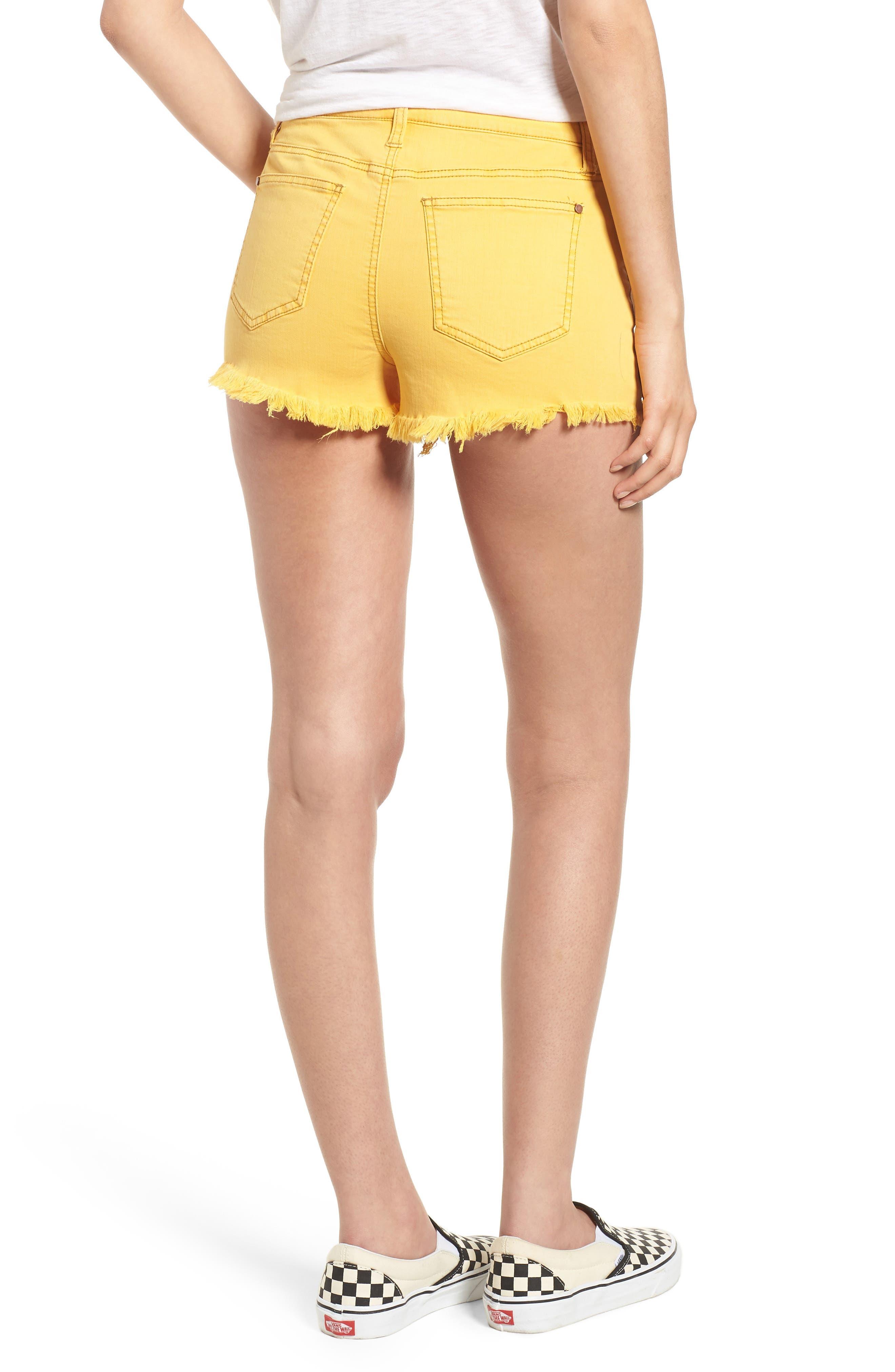 Decon Ripped Denim Shorts,                             Alternate thumbnail 2, color,                             Marigold