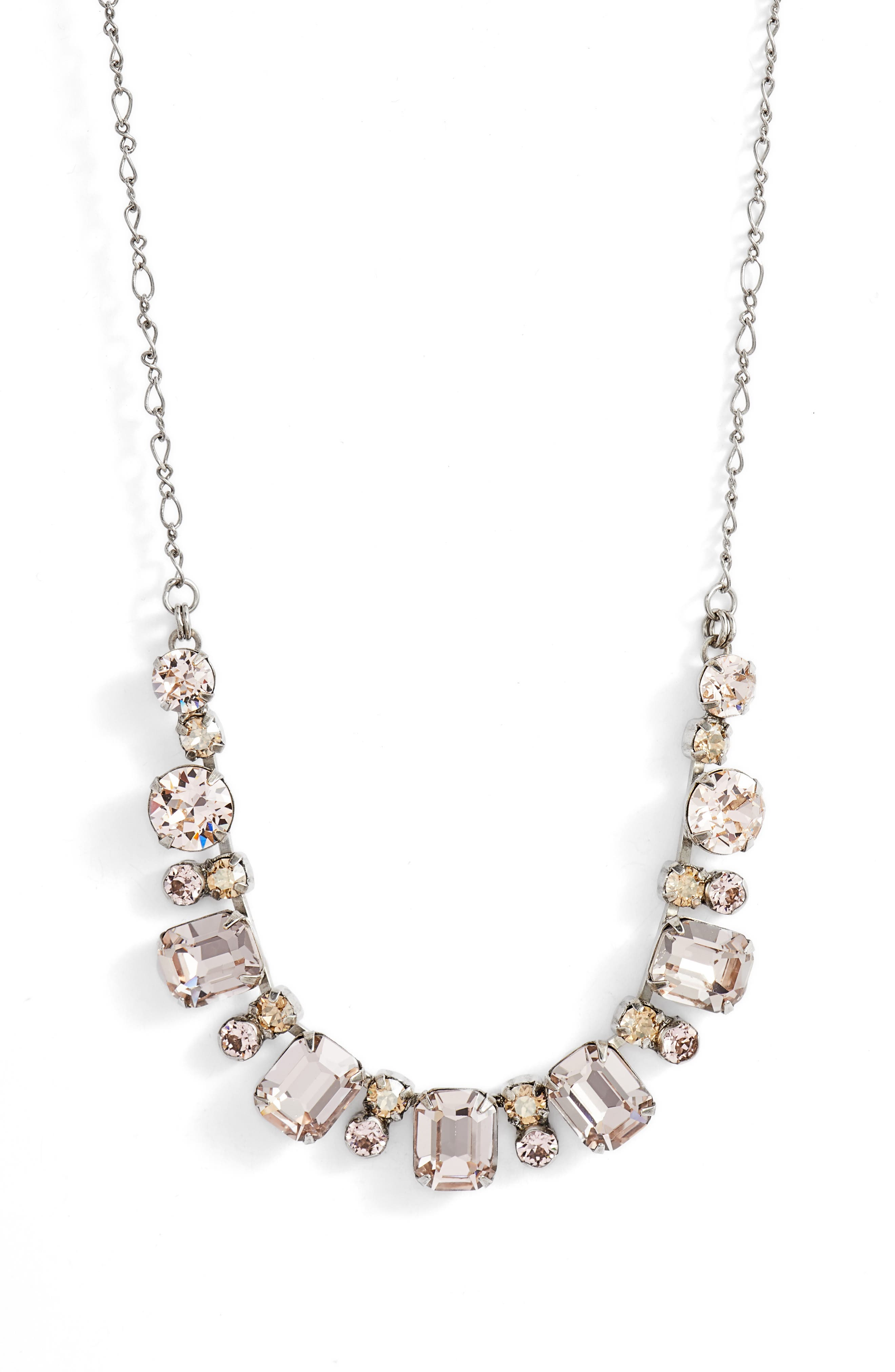 Divide & Conquer Crystal Necklace,                             Main thumbnail 1, color,                             Pink