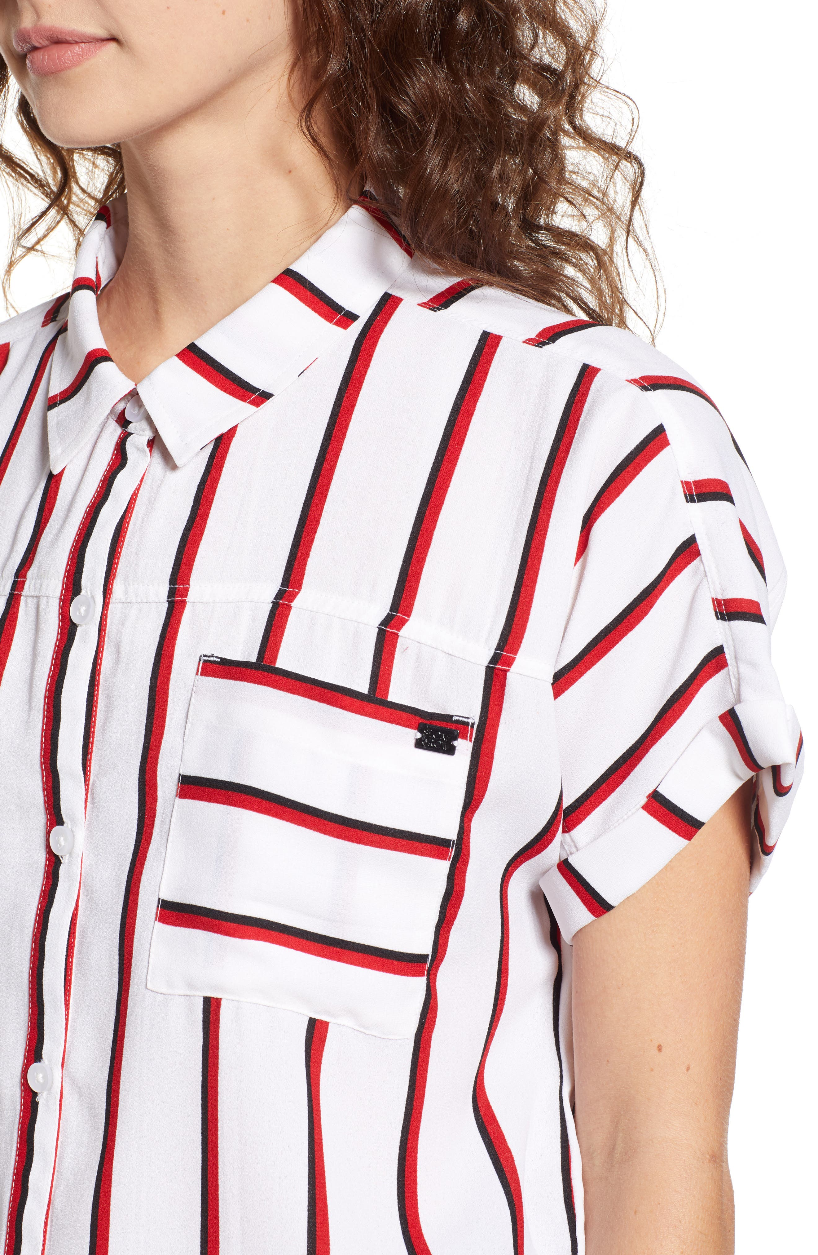 Counting Moons Stripe Top,                             Alternate thumbnail 4, color,                             Chili Red