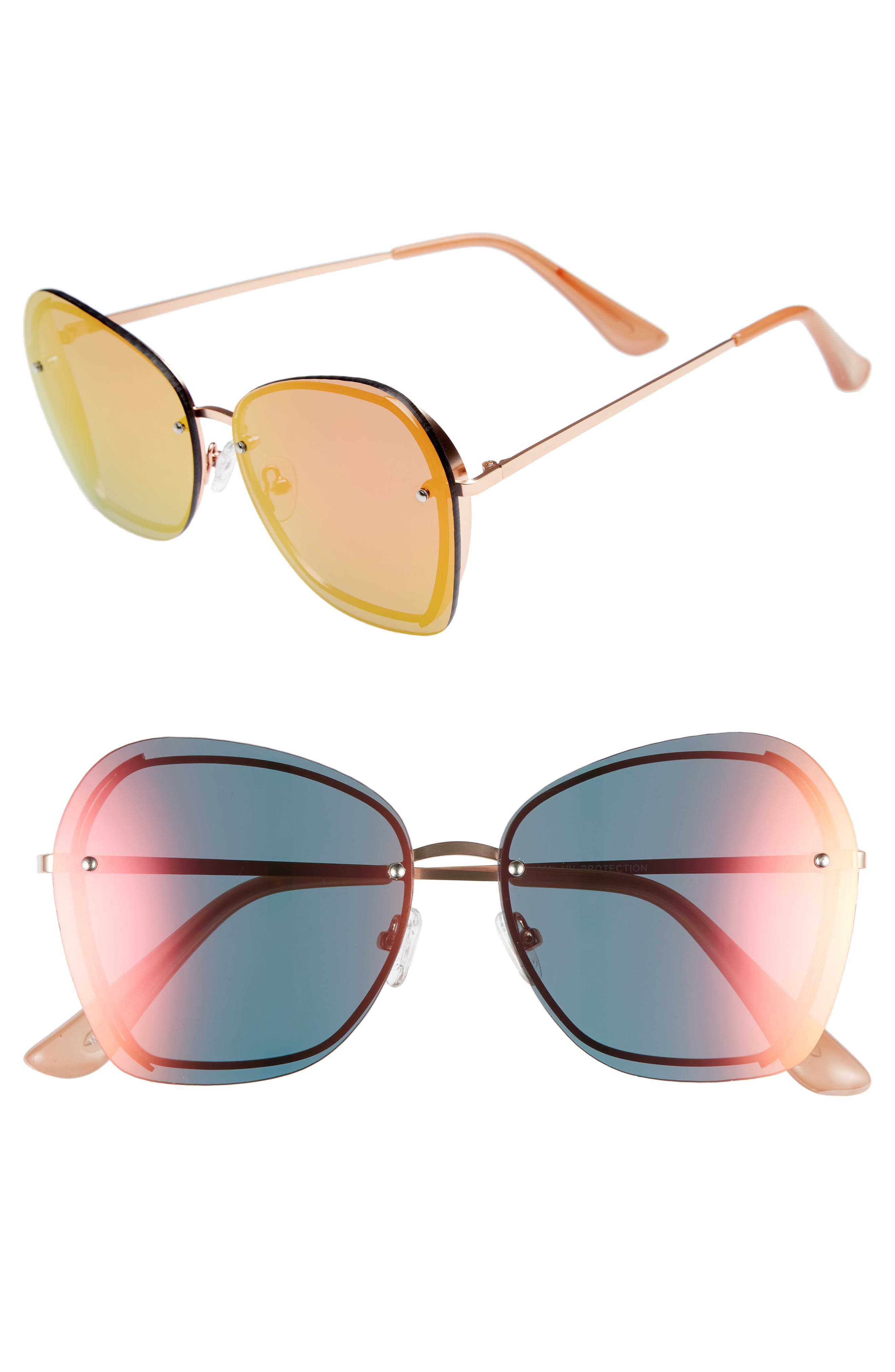 61mm Rimless Square Sunglasses,                         Main,                         color, Rose Gold/ Rose Gold