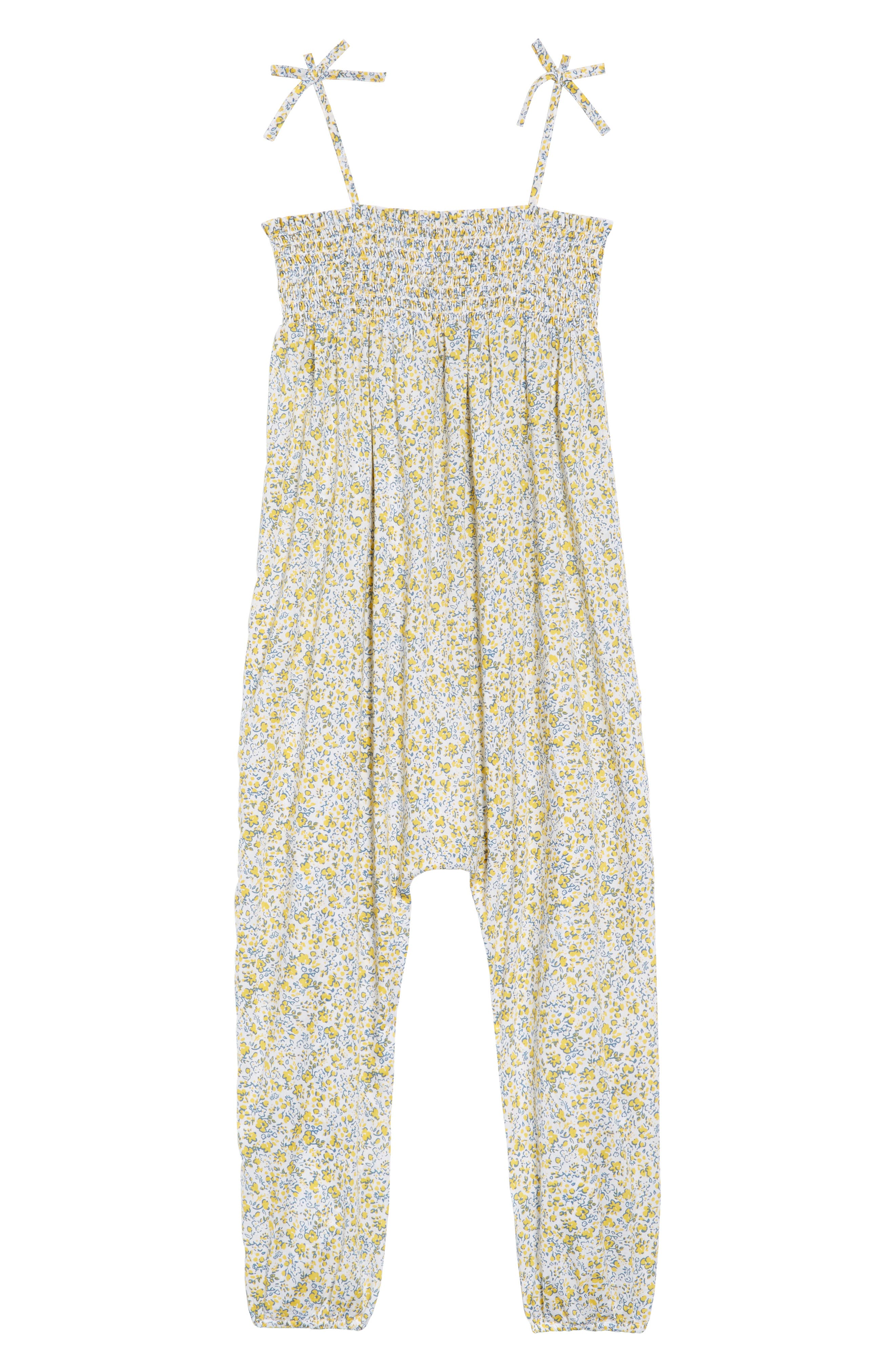 Smocked Ditzy Floral Romper,                             Main thumbnail 1, color,                             White- Yellow Tonal Ditsy