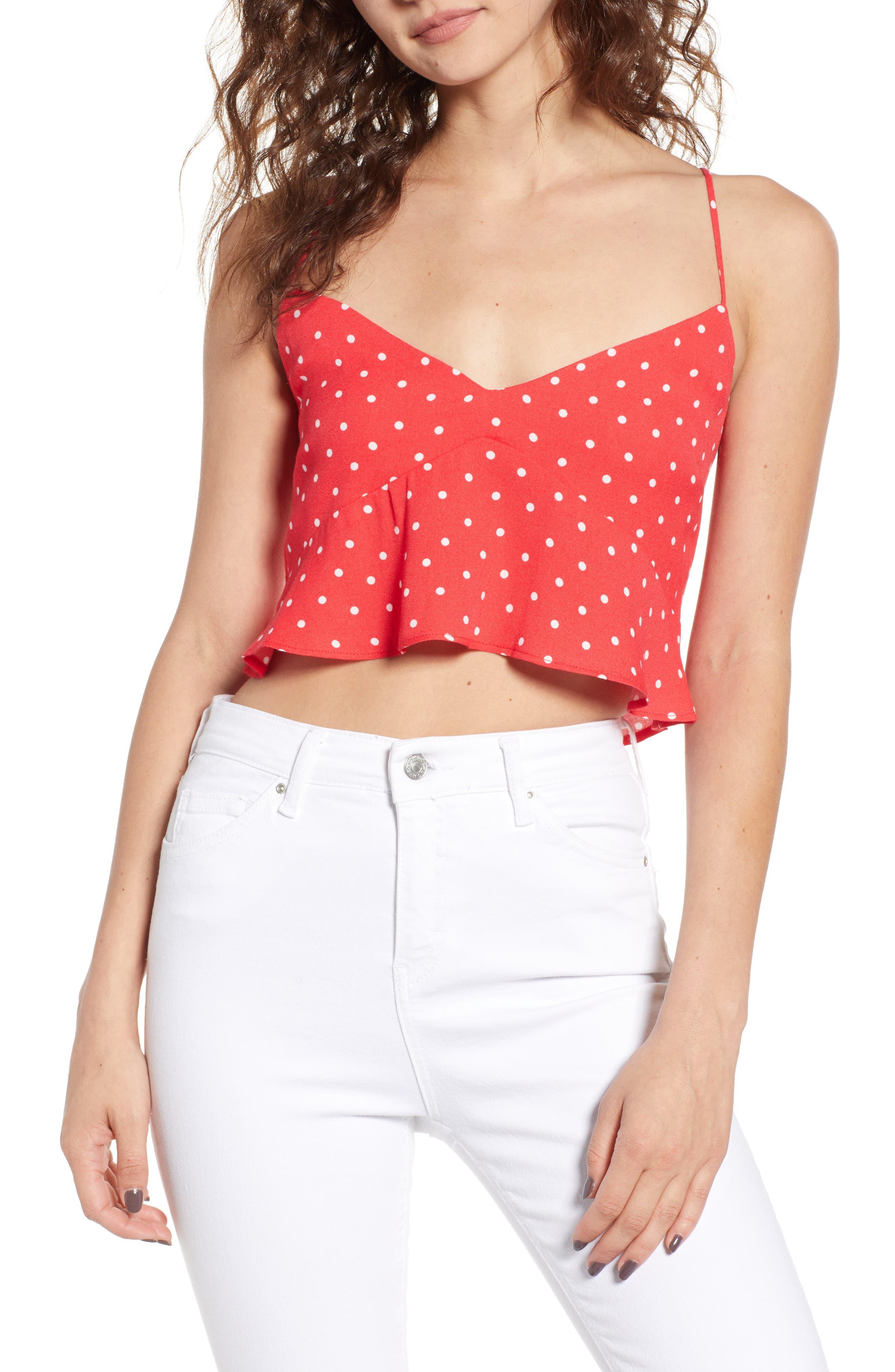 Kyla Crop Top,                         Main,                         color, Red Polka Dot