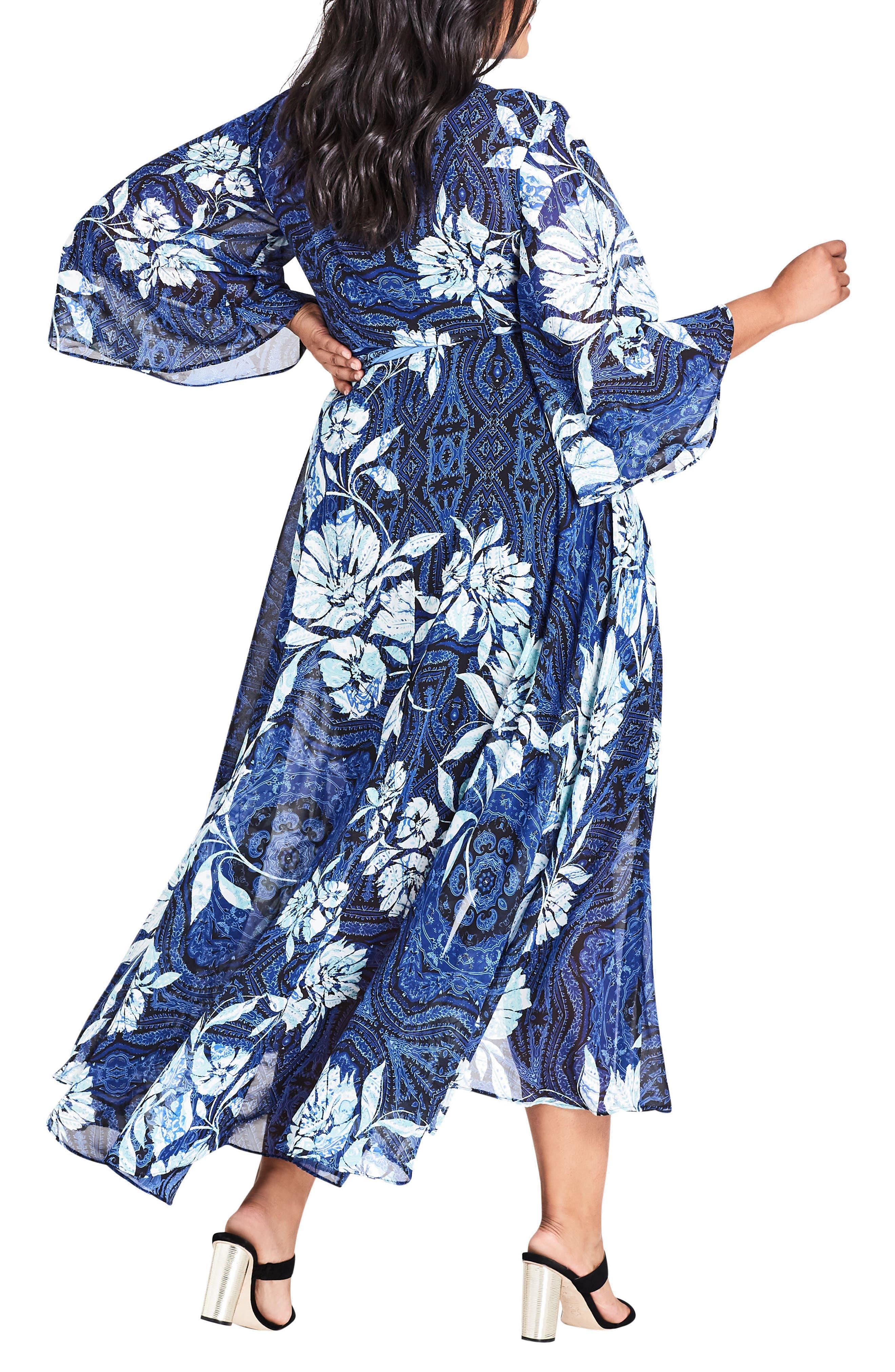 Blue Illusion High/Low Wrap Dress,                             Alternate thumbnail 2, color,                             Blue Illusion