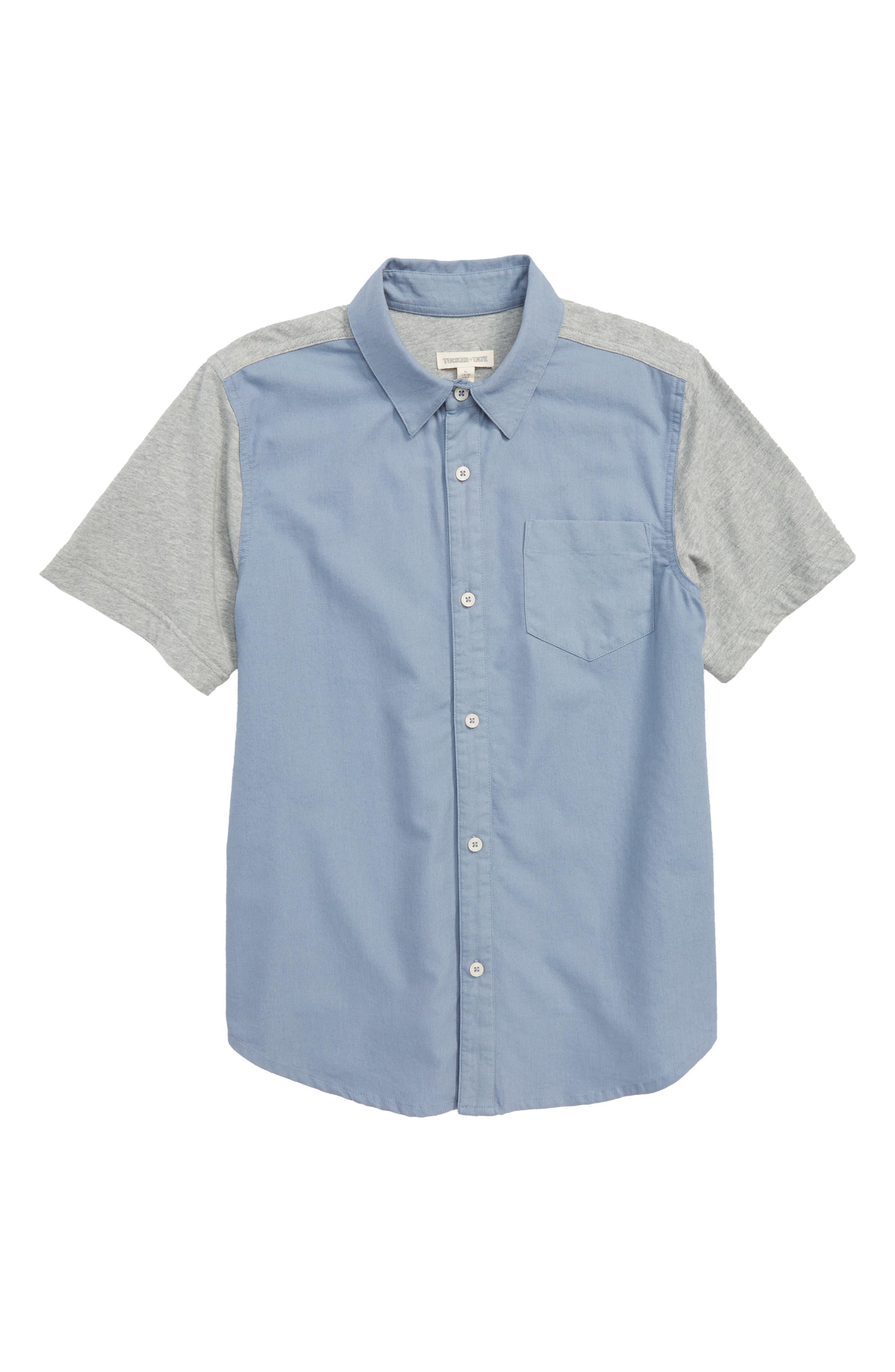 Knit & Woven Shirt,                             Main thumbnail 1, color,                             Blue Stonewash
