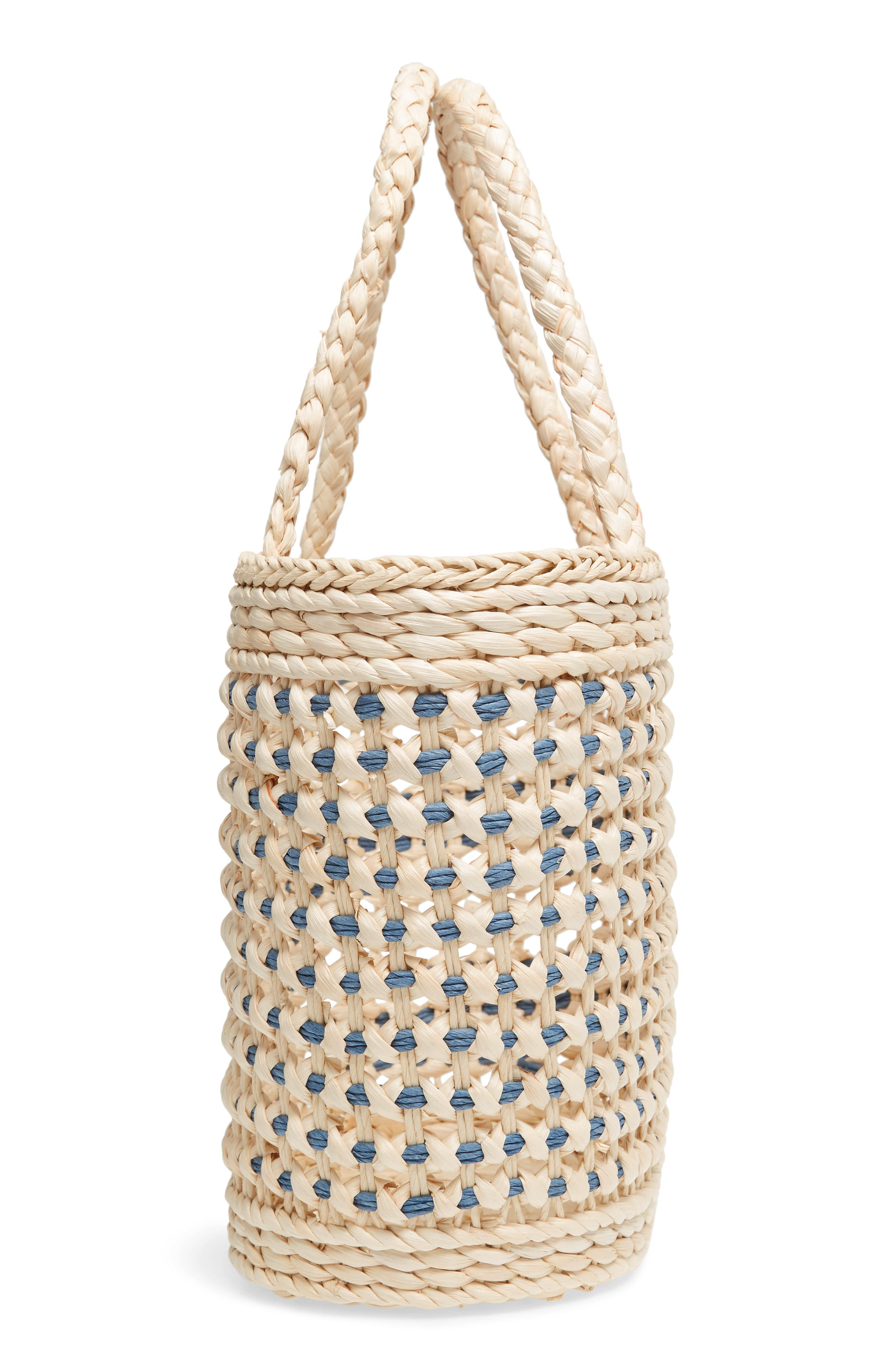 Woven Straw Tote,                             Alternate thumbnail 4, color,                             Nautral/Blue