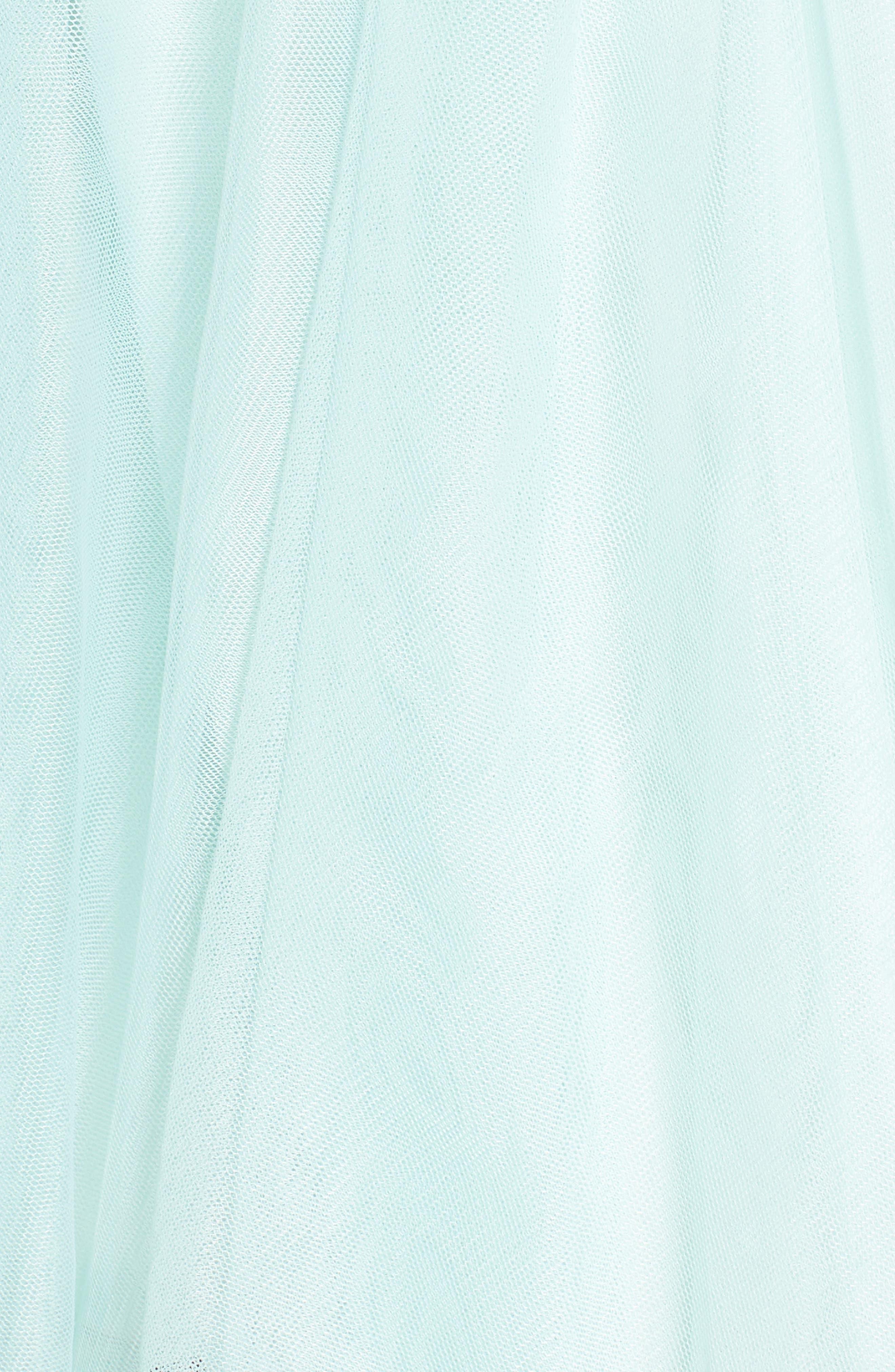 Appliqué Mesh Fit & Flare Halter Dress,                             Alternate thumbnail 5, color,                             Black/ Mint