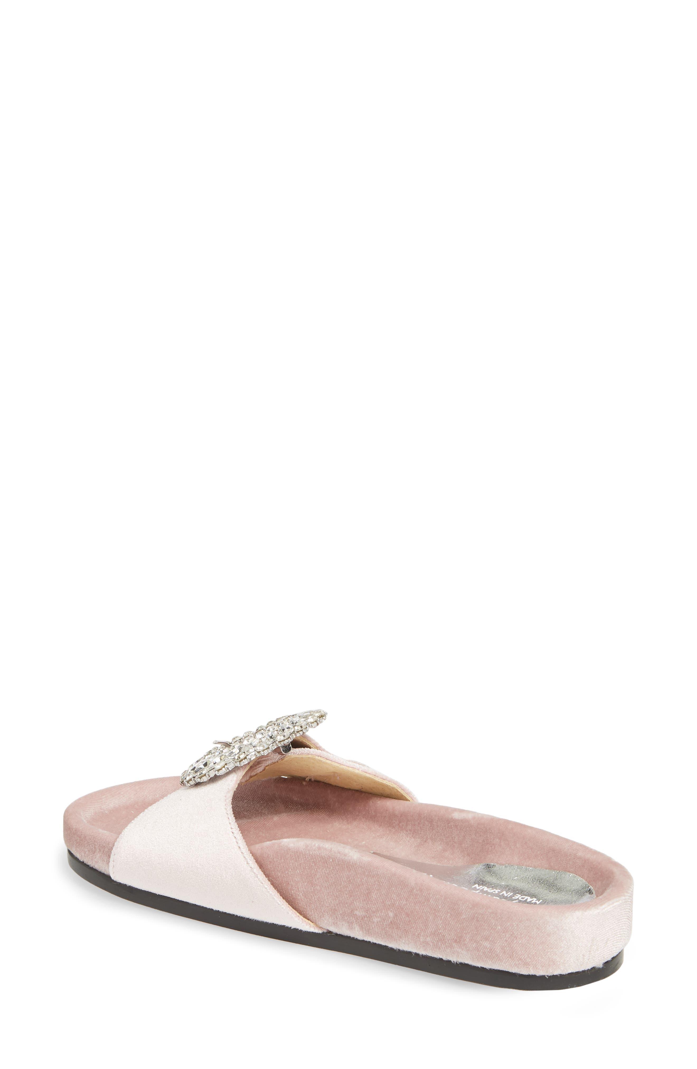 Upolu Embellished Slide Sandal,                             Alternate thumbnail 2, color,                             Blush Velvet/ Silver