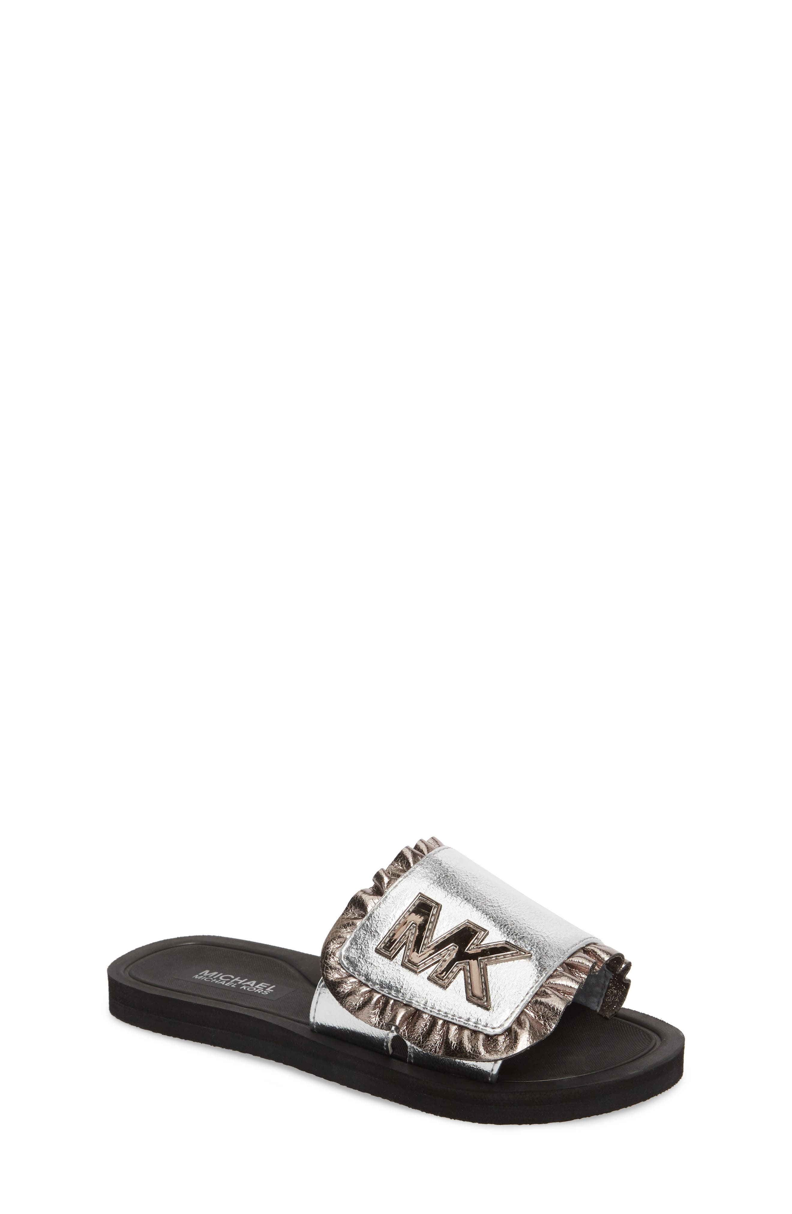 Eli Jack Metallic Slide Sandal,                             Main thumbnail 1, color,                             Silver