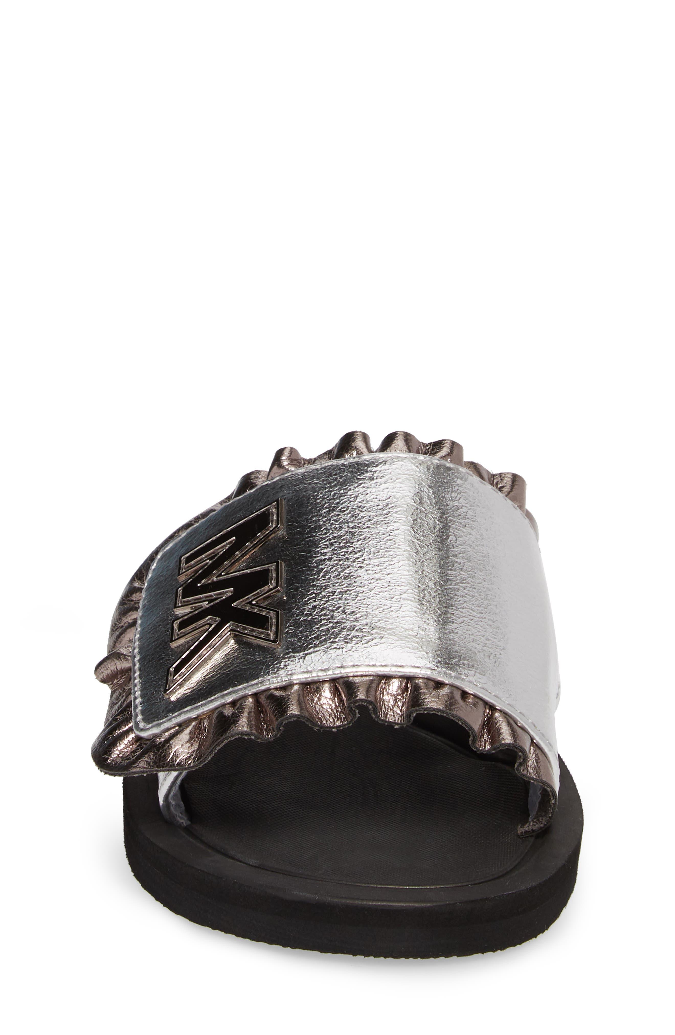 Eli Jack Metallic Slide Sandal,                             Alternate thumbnail 4, color,                             Silver