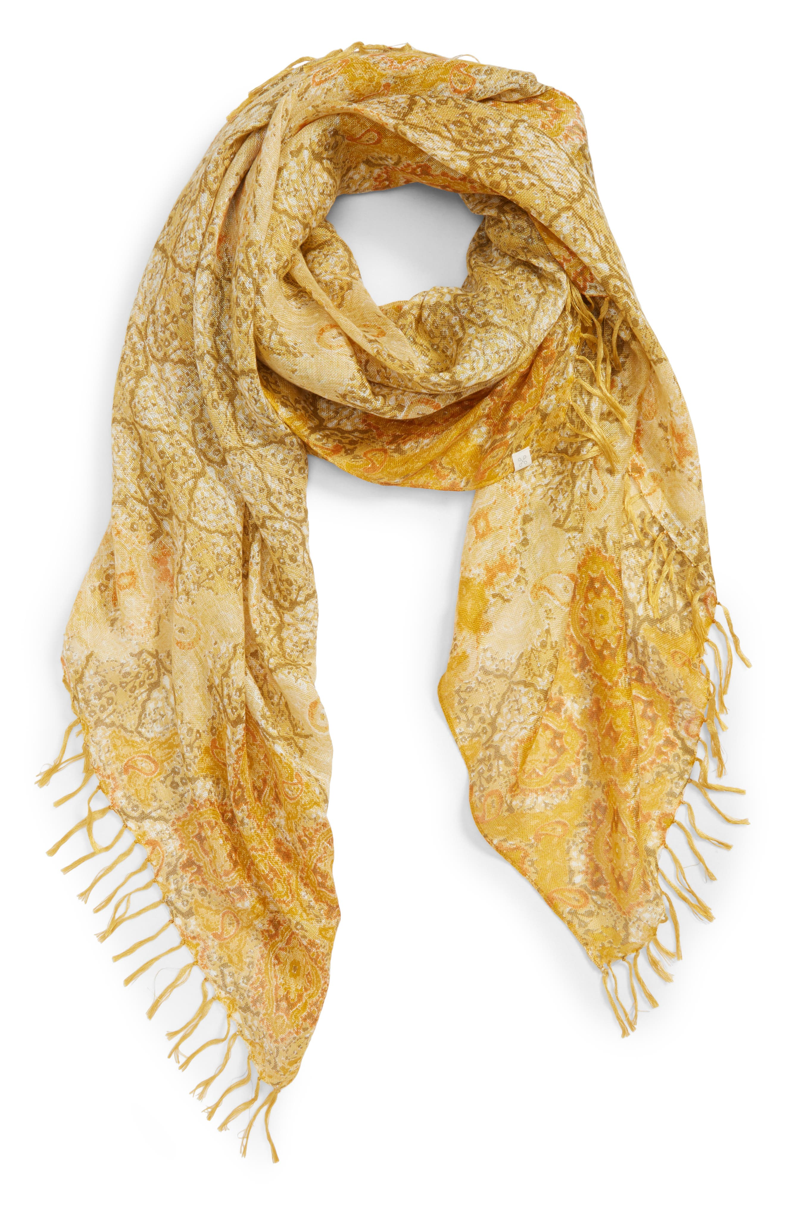 Mixed Print Scarf,                         Main,                         color, Yellow Summer Medallion