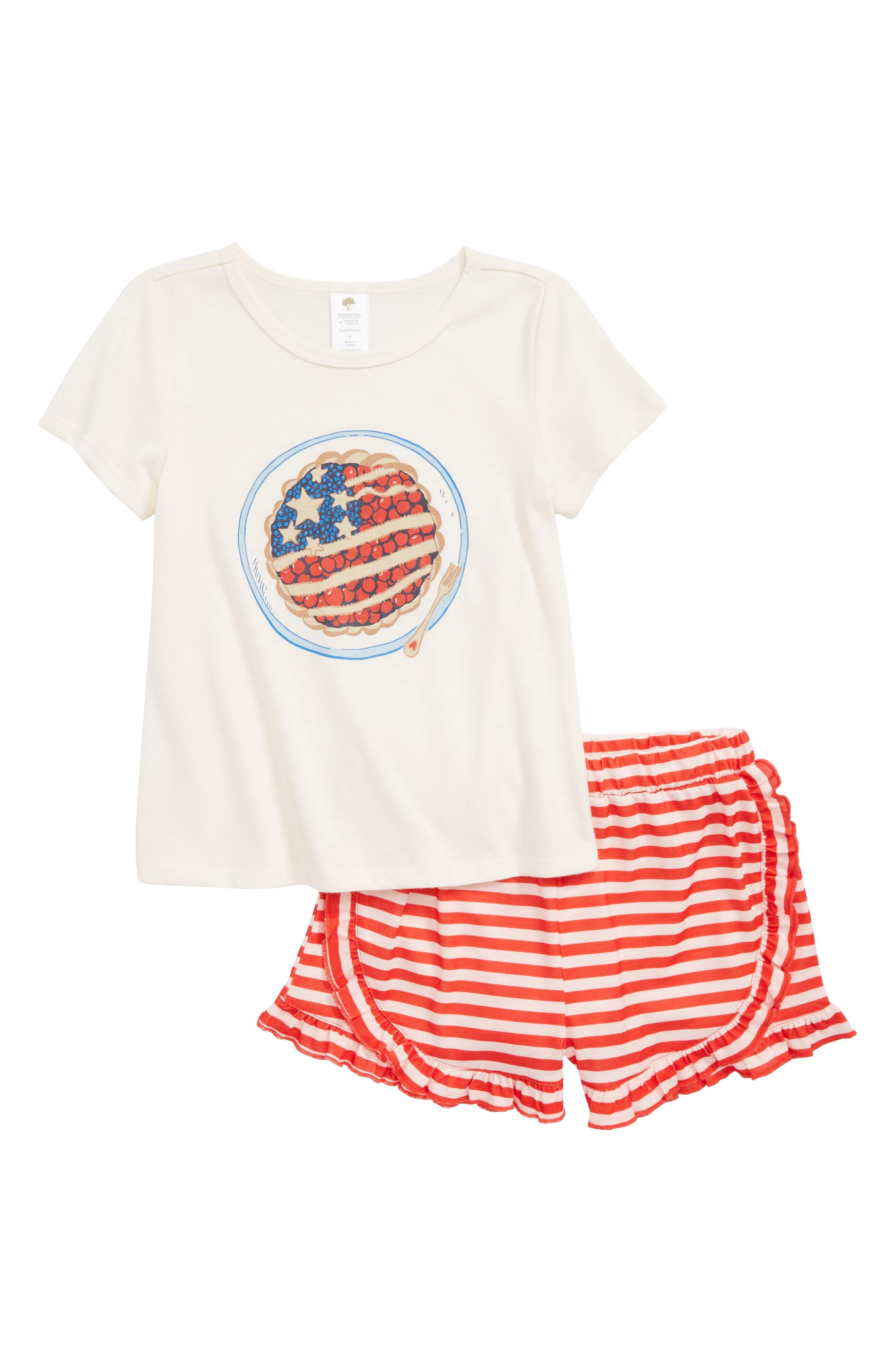 Two-Piece Pajamas,                         Main,                         color, Ivory Egret Cherry Pie