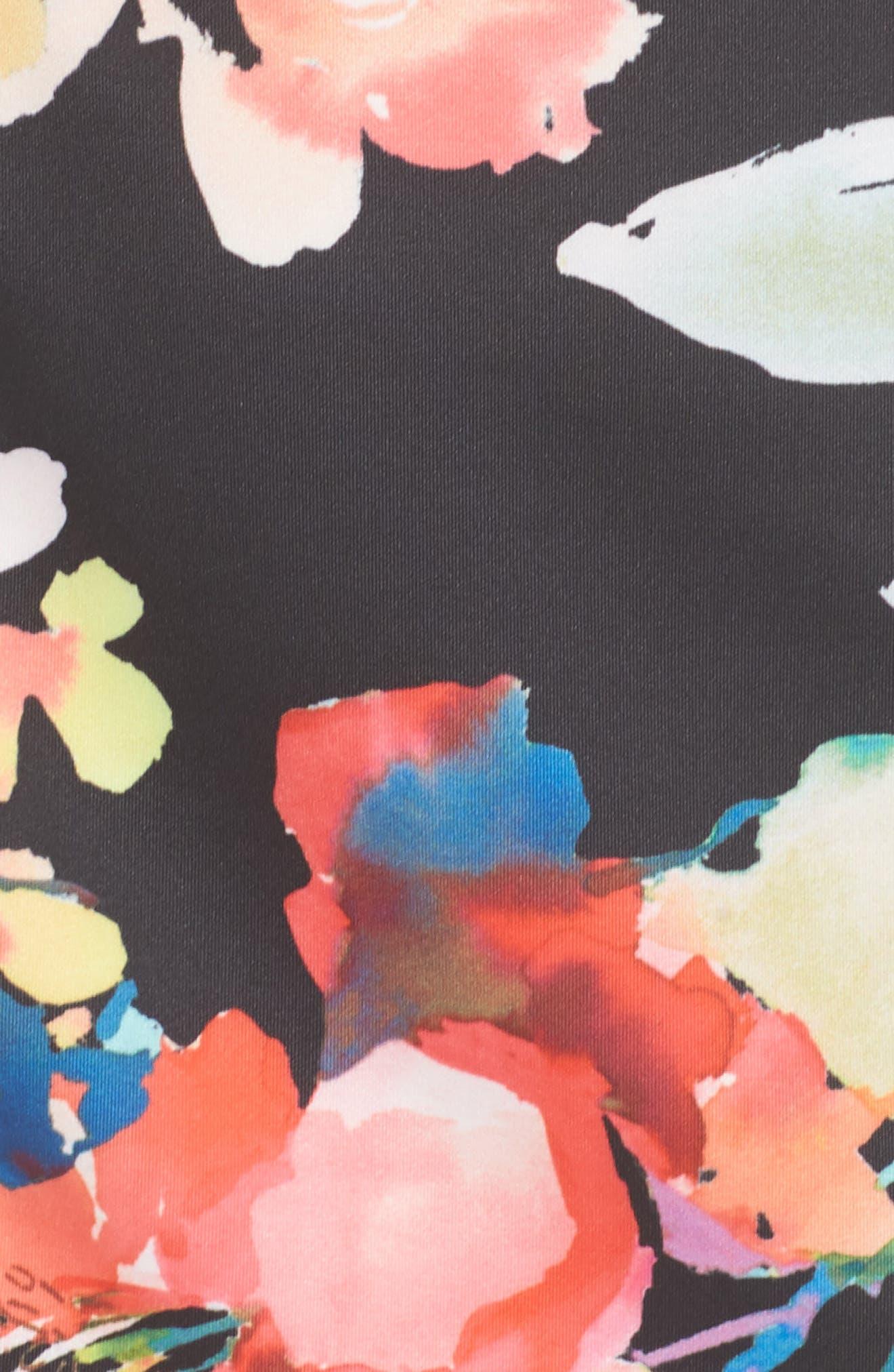 Garden Fiesta Print Scuba Sheath Dress,                             Alternate thumbnail 6, color,                             Black Multi