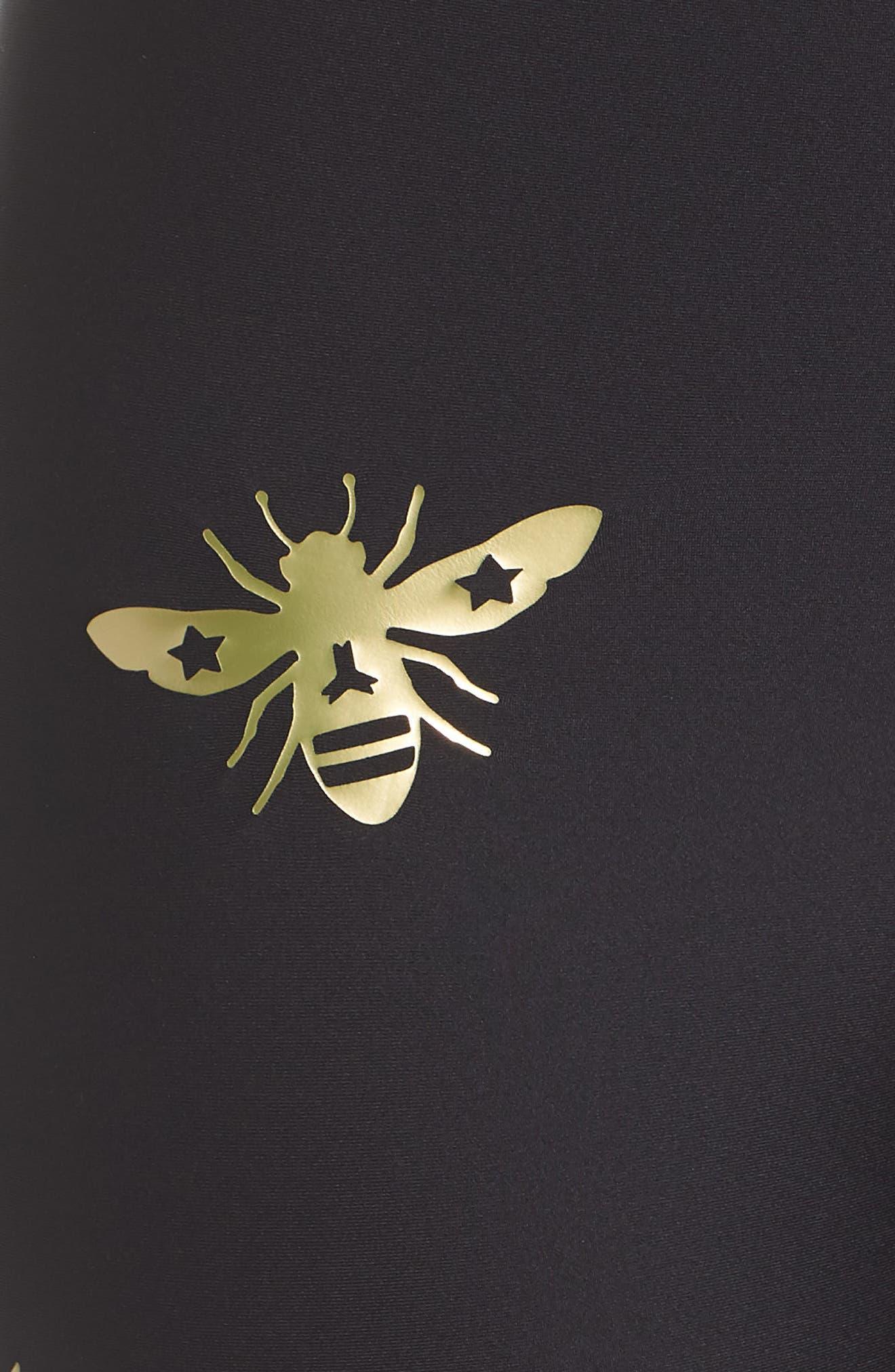 Ultra Bee Leggings,                             Alternate thumbnail 5, color,                             Nero/ Gold