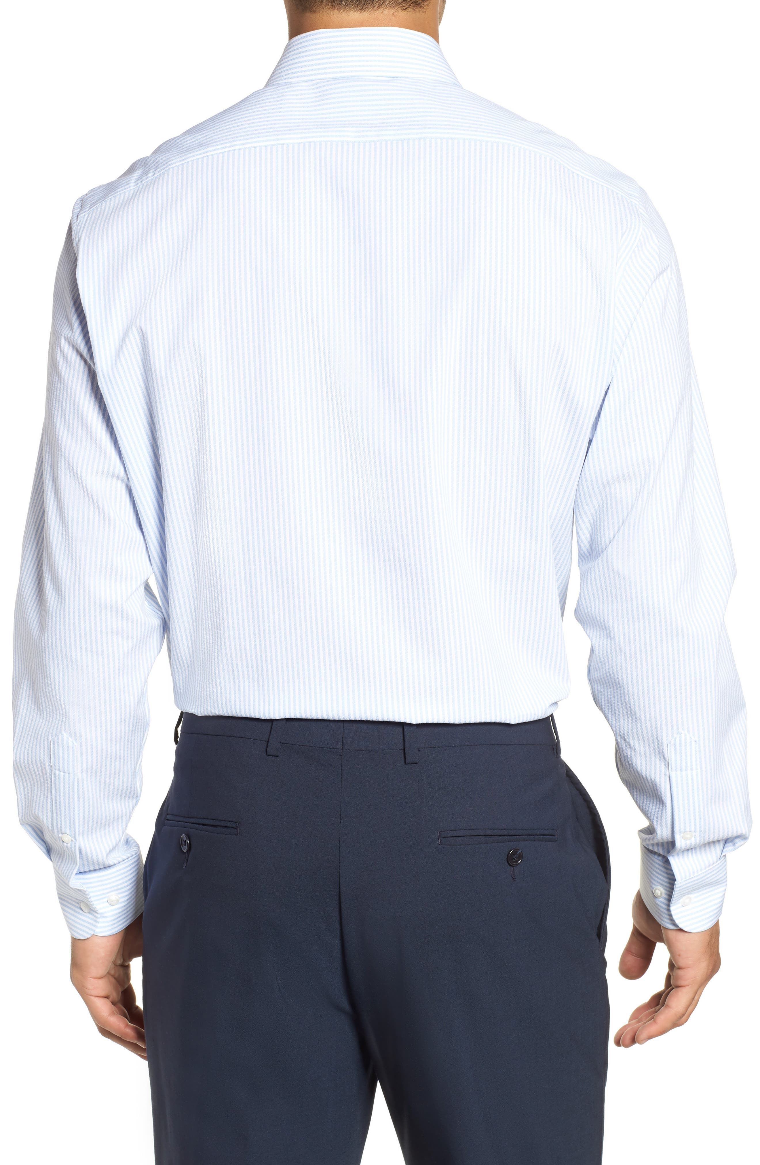 Tech-Smart Traditional Fit Stripe Stretch Dress Shirt,                             Alternate thumbnail 3, color,                             Blue Brunnera
